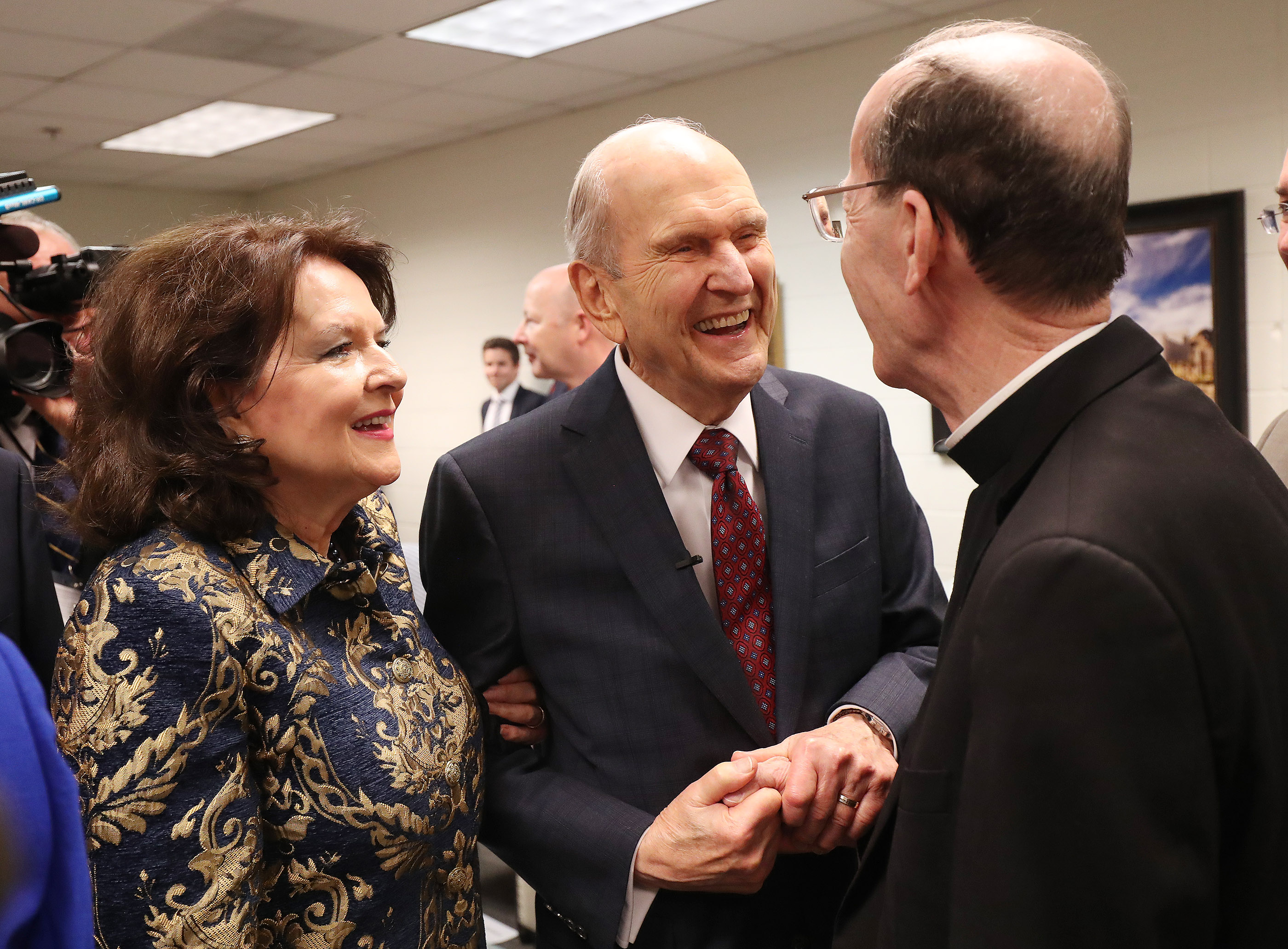 President Russell M. Nelson of The Church of Jesus Christ of Latter-day Saints and his wife, Sister Wendy Nelson, meet the Most Reverend Thomas J. Olmsted, Bishop of the Catholic Dioceses of Phoenix, prior to speaking in Phoenix on Sunday, Feb. 10, 2019.