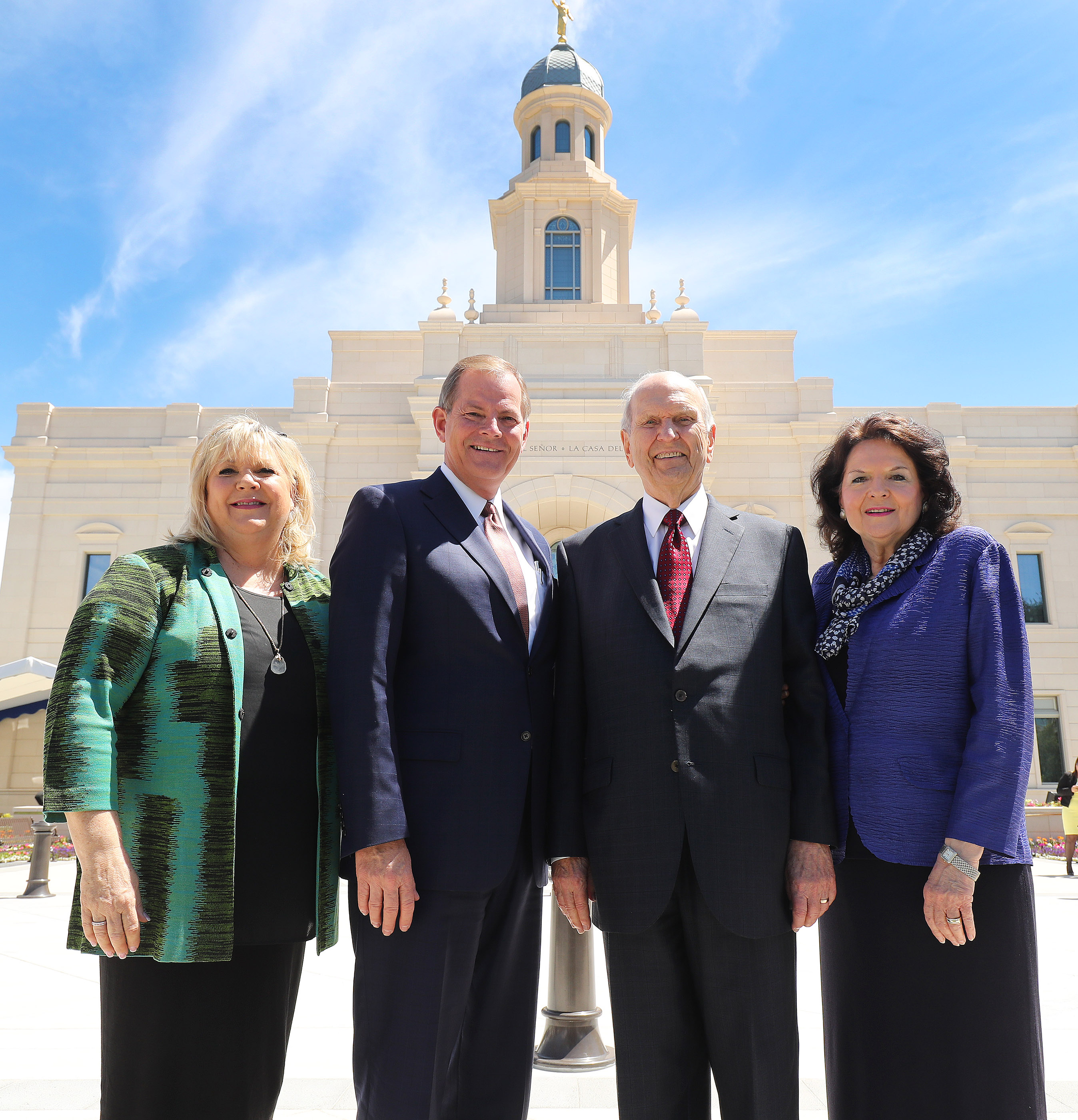 President Russell M. Nelson and his wife, Sister Wendy Nelson, and Elder Gary E. Stevenson of the Quorum of the Twelve Apostles and his wife, Sister Lesa Stevenson, stand near the temple in Concepción, Chile, on Saturday, Oct. 27, 2018.