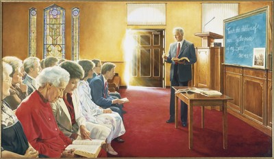 A painting by Greg Olsen depicting a Sunday School teacher instructing his class was on display during a meeting of current and former Sunday School general presidencies of the Church. Among the matters discussed by the leaders was the importance of teaching by the Spirit.