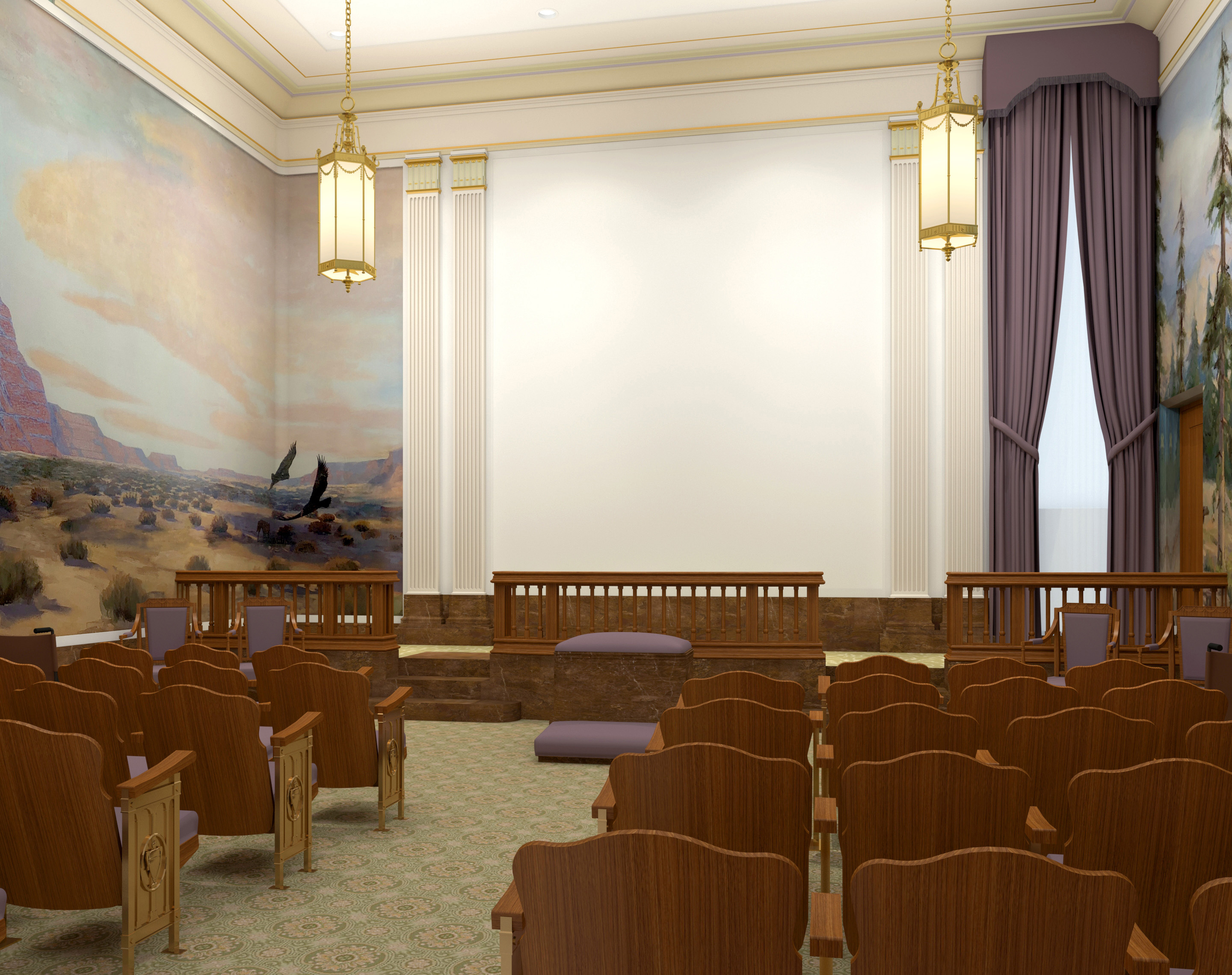 Rendering of an instruction room in the Mesa Arizona Temple.