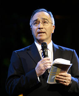 Elder Rodolfo Franco speaks at the beginning of the final dress rehearsal for the LDS progarm, Luz de las Naciones (Light of the Nations) at the LDS conference center in Salt Lake City Thursday, Oct. 25, 2012
