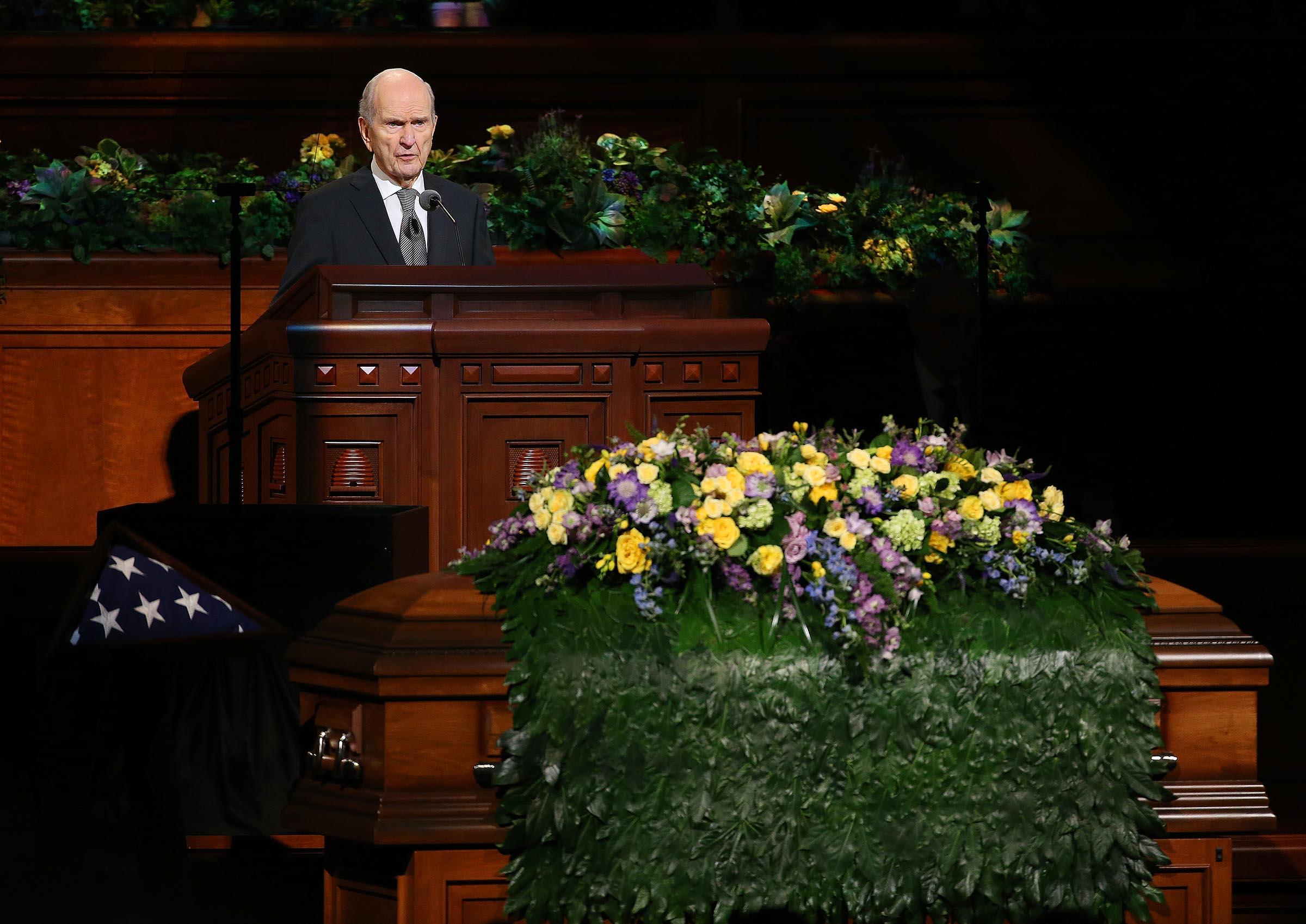 President Russell M. Nelson, president of the LDS Church's Quorum of the Twelve Apostles, speaks at President Thomas S. Monson's funeral at the Conference Center in Salt Lake City on Friday, Jan. 12, 2018.