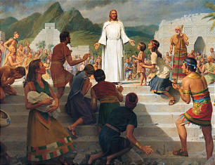 Artist John Scott depicts the events of 3 Nephi 11 as the Savior invites the Nephites to feel the prints of the nails in His hands and feet so they can know He is the resurrected Savior.