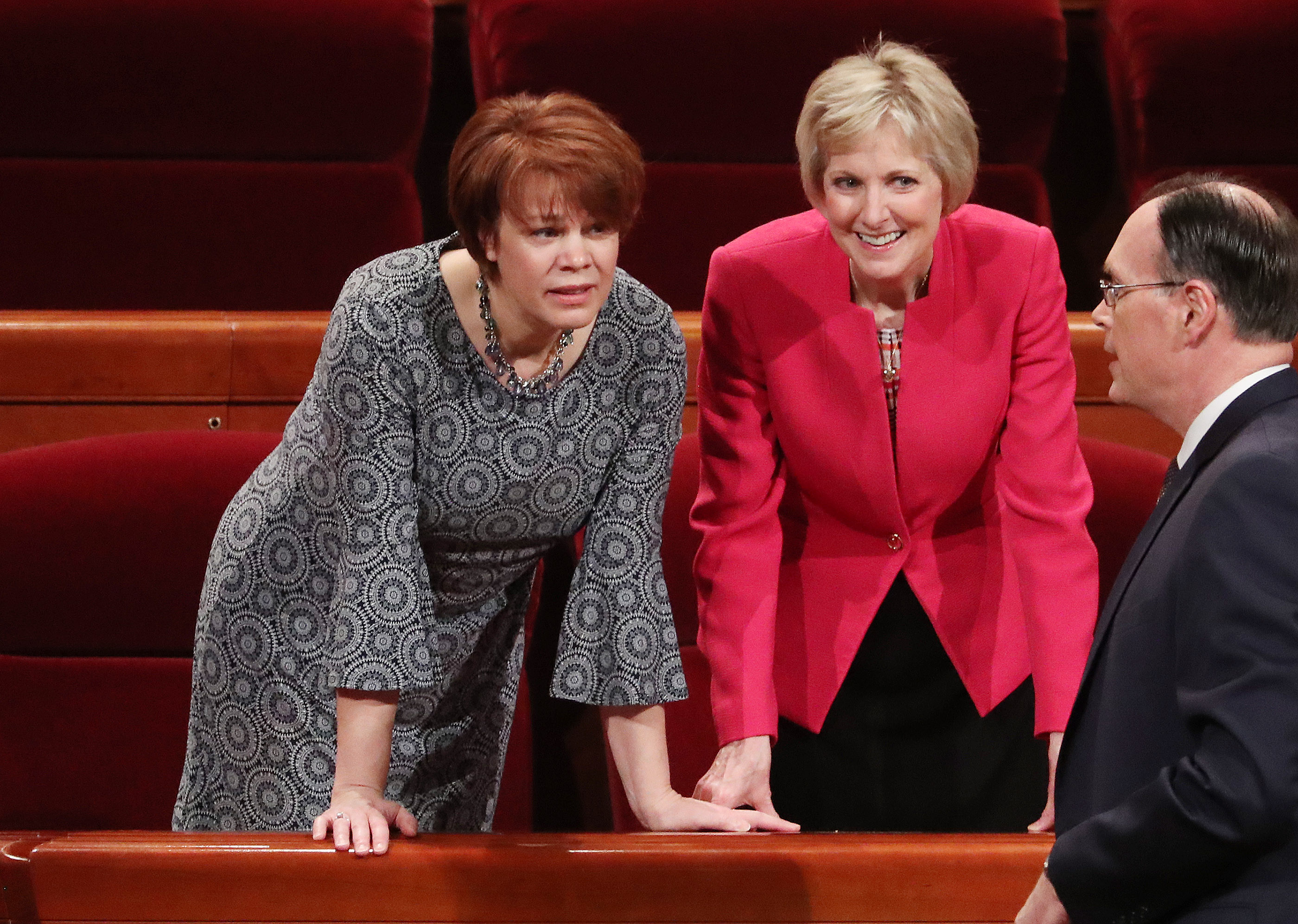 Sister Sharon Eubank, first counselor in the Relief Society general presidency, and Sister Jean Bingham, general president of the Relief Society, talk prior to the 189th Annual General Conference of The Church of Jesus Christ of Latter-day Saints in Salt Lake City on Saturday, April 6, 2019.