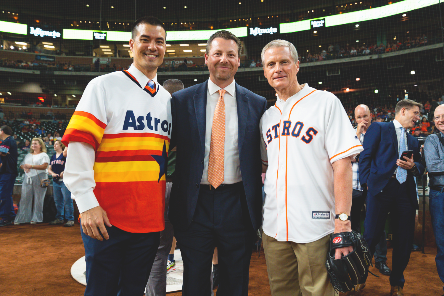 Astros' Senior Vice President of business operations, Marcel Braithwaite, flanked by President Jeremy Guthrie of the Texas Houston South Mission, left, and Elder David A. Bednar of the Quorum of the Twelve Apostles, right.