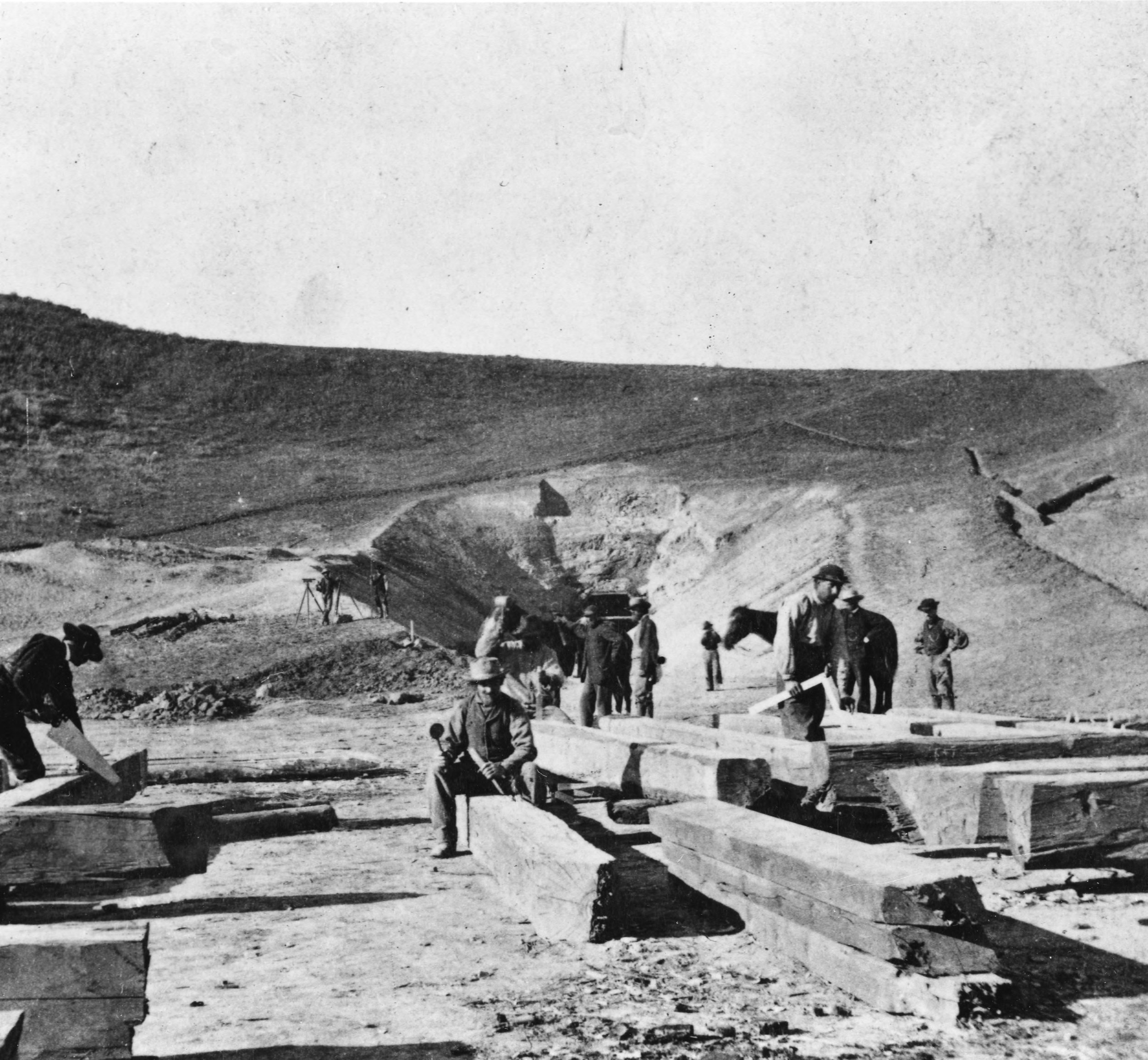 Tunnel No. 2 is built at the head of Echo Canyon, Utah, during construction of the Union Pacific Railroad.