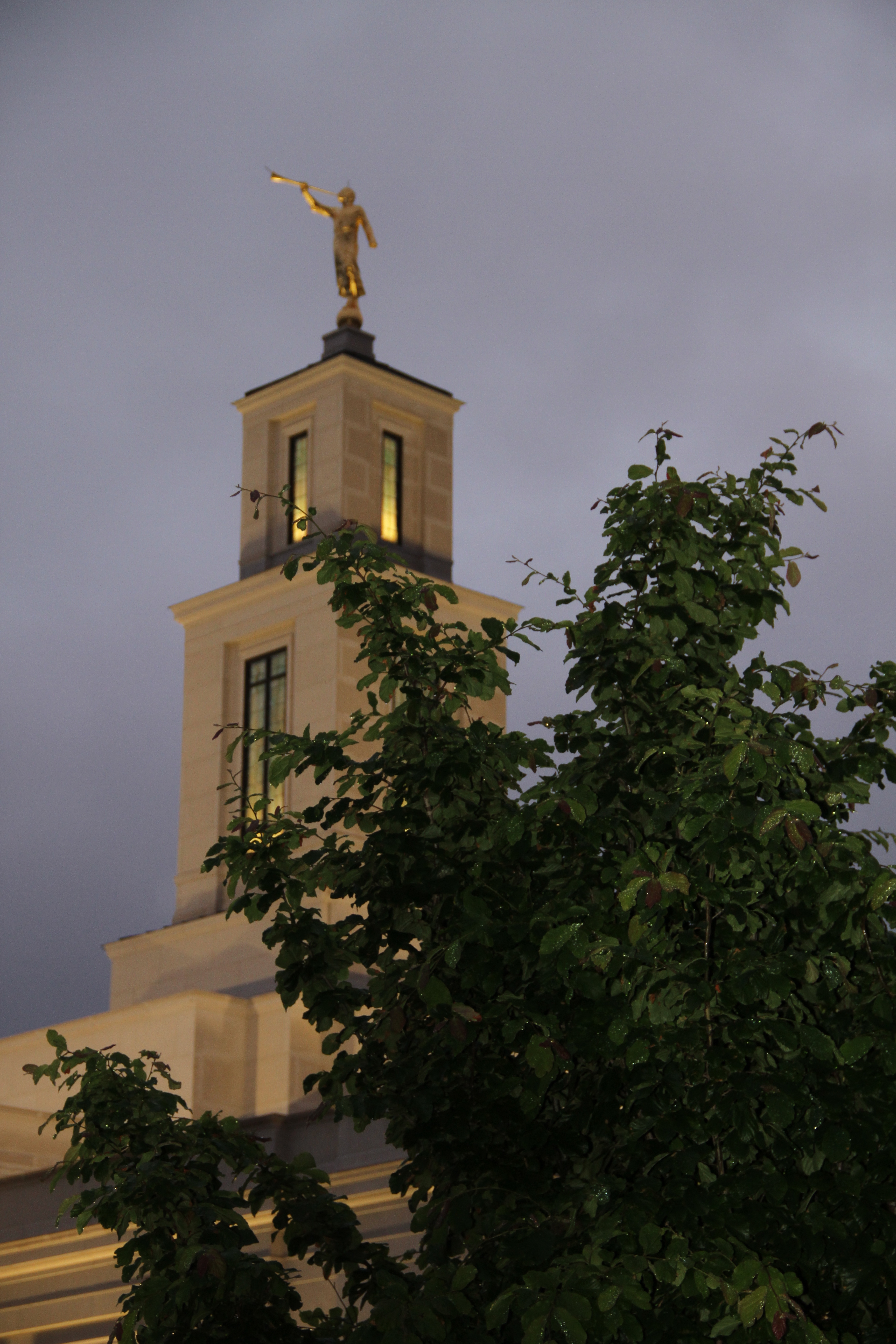 The tower of the Memphis Tennessee Temple under rainy skies on May 4, 2019. The tower was raised 10 feet during the 18-month renovation of the temple.
