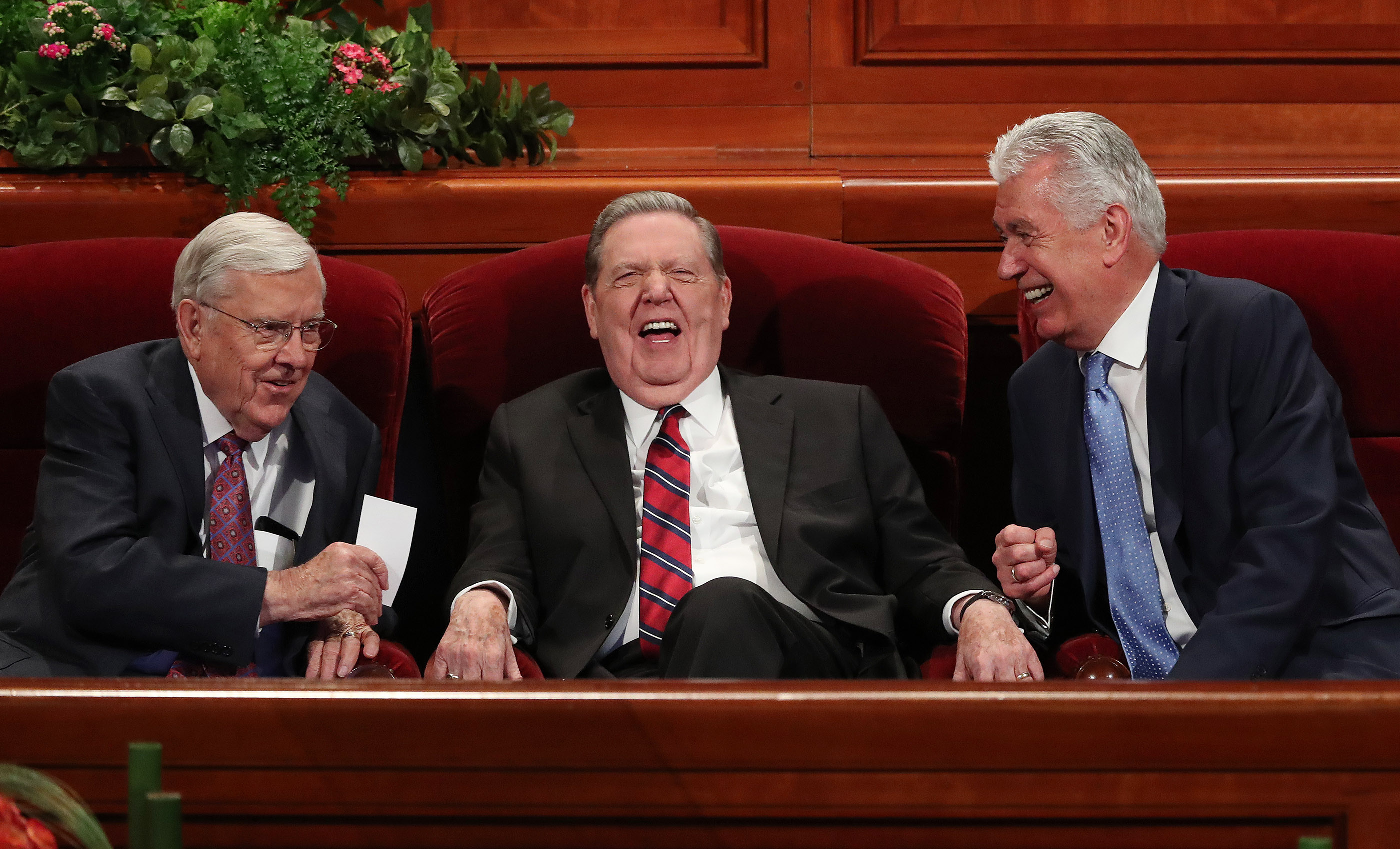 President M. Russell Ballard, acting president of the Quorum of the Twelve Apostles, left, and Elder Jeffrey R. Holland and Elder Dieter F. Uchtdorf, also of the Quorum of the Twelve Apostles, share a light moment prior to the Sunday afternoon session of the 188th Semiannual General Conference of The Church of Jesus Christ of Latter-day Saints in the Conference Center in Salt Lake City on Sunday, Oct. 7, 2018.