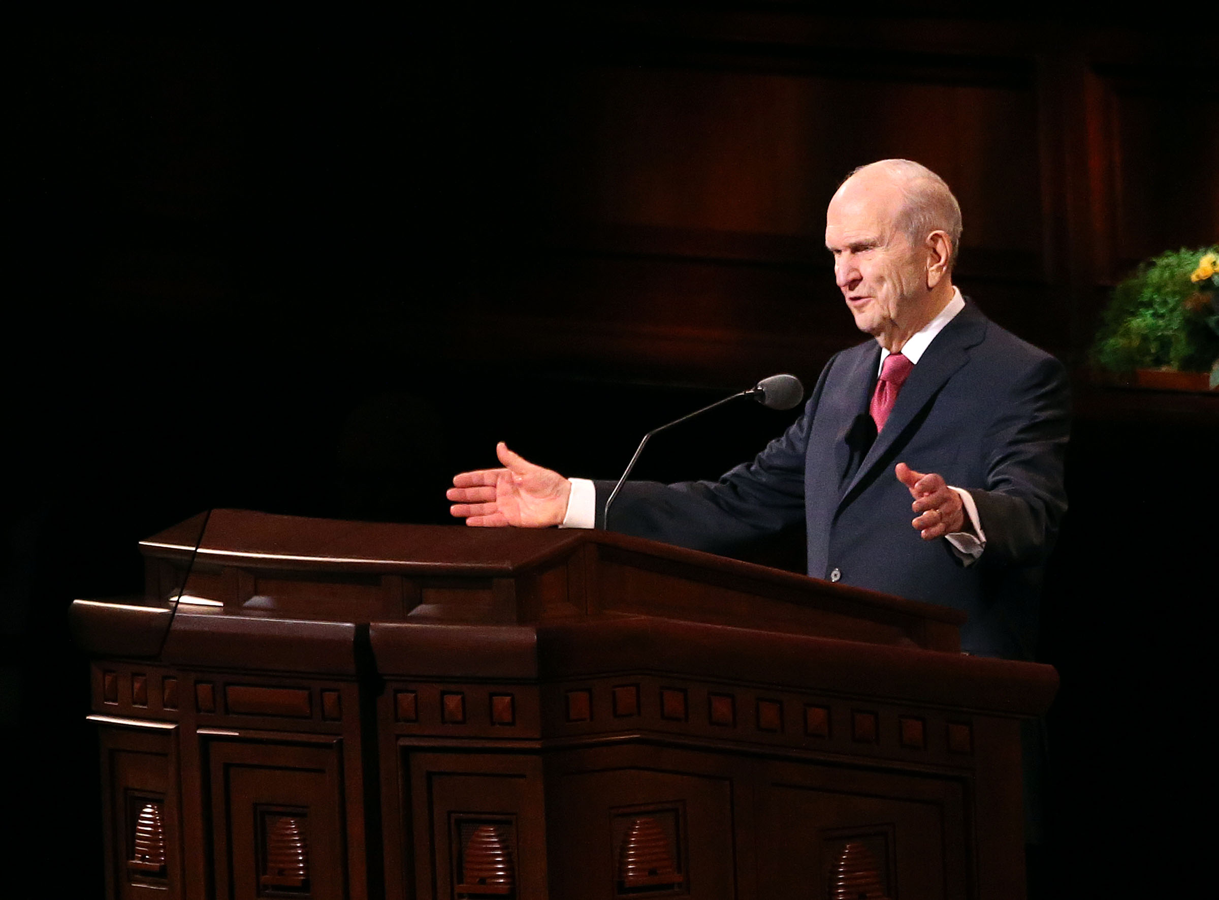 President Russell M. Nelson speaks during the morning session of the 188th Annual General Conference of The Church of Jesus Christ of Latter-day Saints at the Conference Center in Salt Lake City on Sunday, April 1, 2018.
