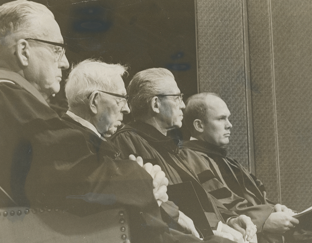 President Harold B. Lee, left, President Joseph Fielding Smith and President N. Eldon Tanner sit with Dr. Dallin H. Oaks, new president of BYU, during inauguration rites for Oaks at Provo campus.