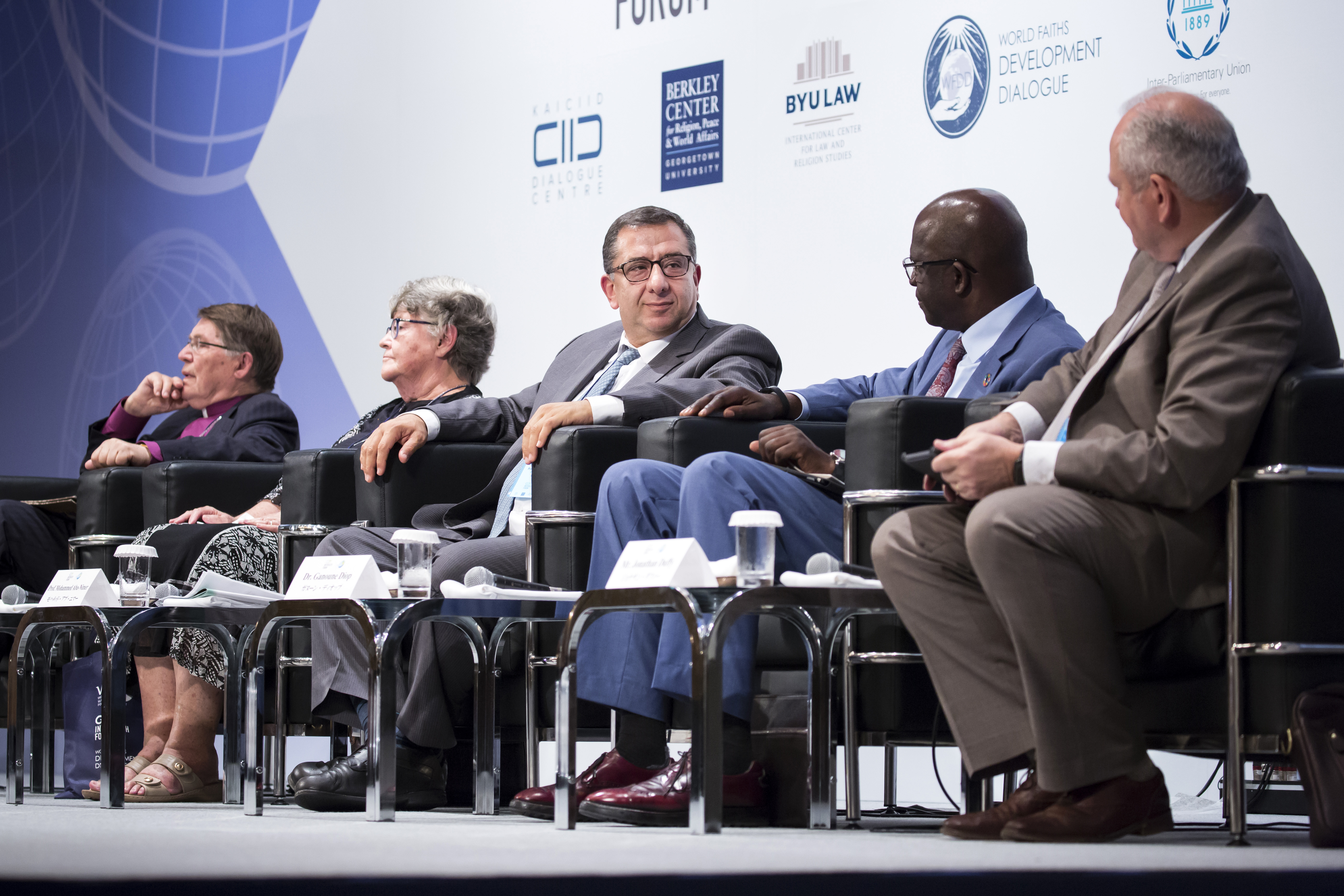 From left, Gunnar Stalsett, Denise Coghlan, Mohammed Abu-Nimer, Ganoune Diop and Jonathan Duffy take part in a session during the G20 Interfaith Forum in Chiba, Japan, on Saturday, June 8, 2019.