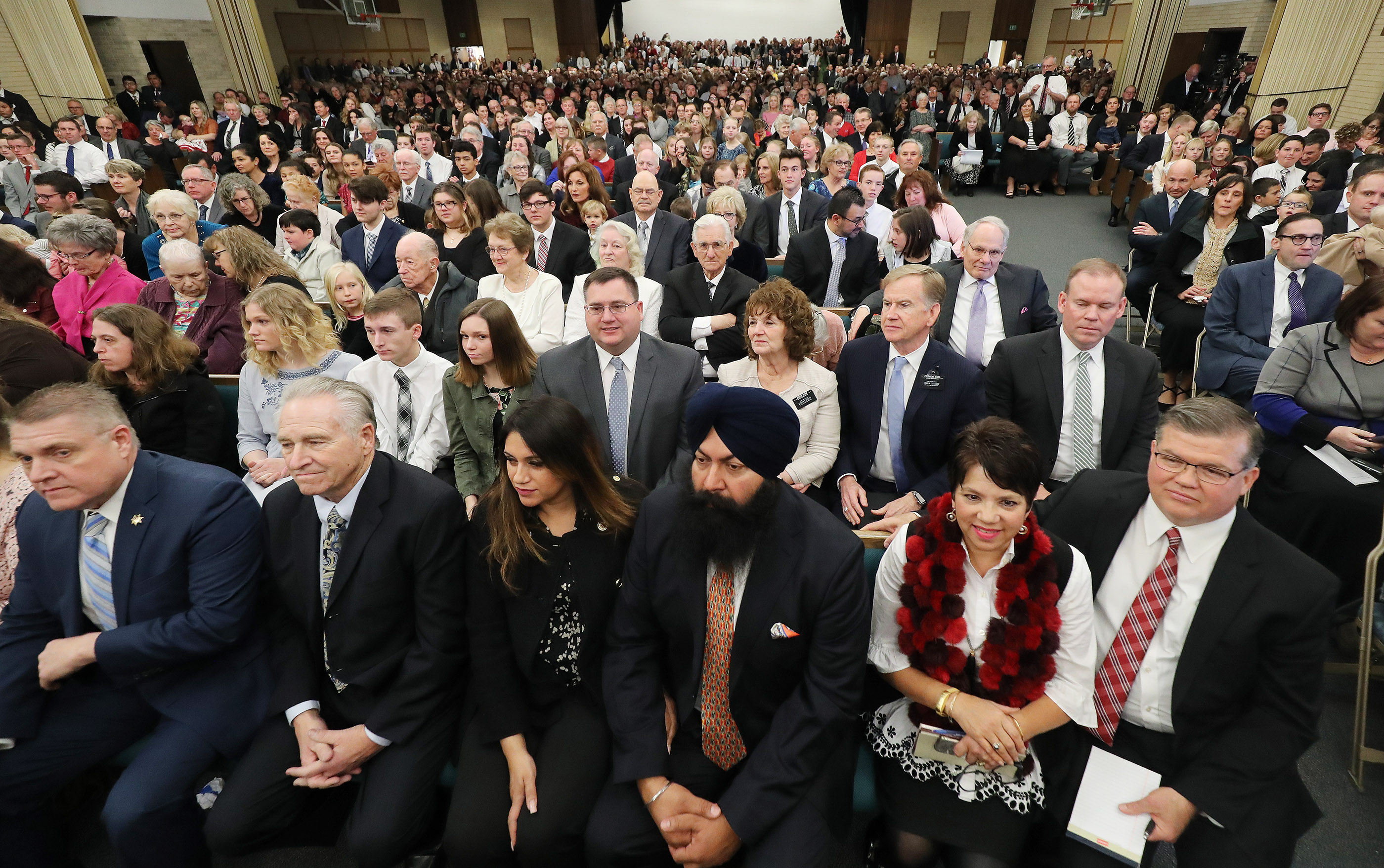 "Attendees look on as President Russell M. Nelson of The Church of Jesus Christ of Latter-day Saints enters the chapel in Chico, California, on Sunday, Jan. 13, 2019. President Nelson wrote about the visit in an op-ed published Feb. 10 in The Arizona Republic. Life with God is far better than one without him, he wrote in the op-ed, titled ""Healing Hearts."""