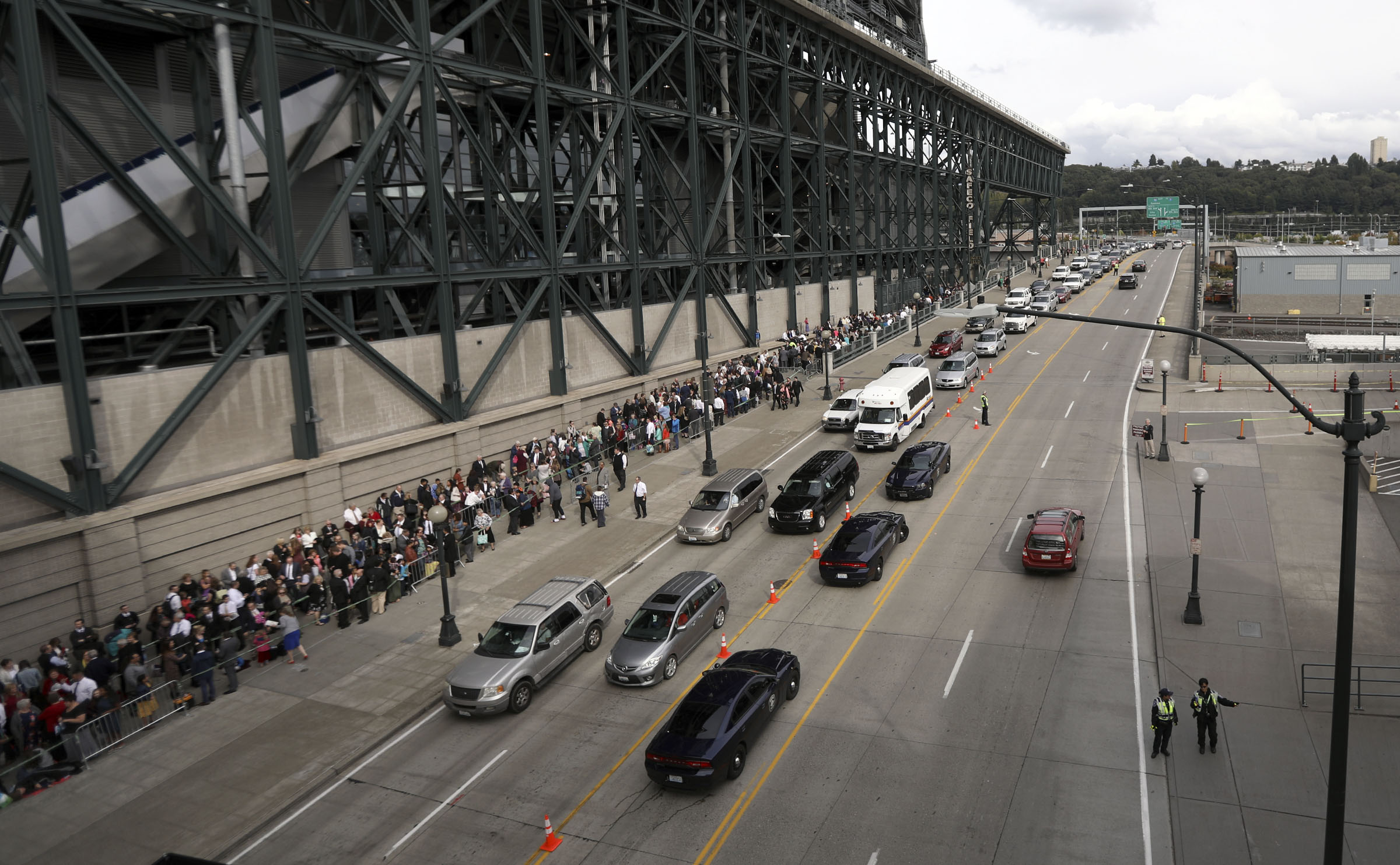 People line up around Safeco Field to hear President Russell M. Nelson of The Church of Jesus Christ of Latter-day Saints speak in Seattle, Wash., on Saturday, Sept. 15, 2018.