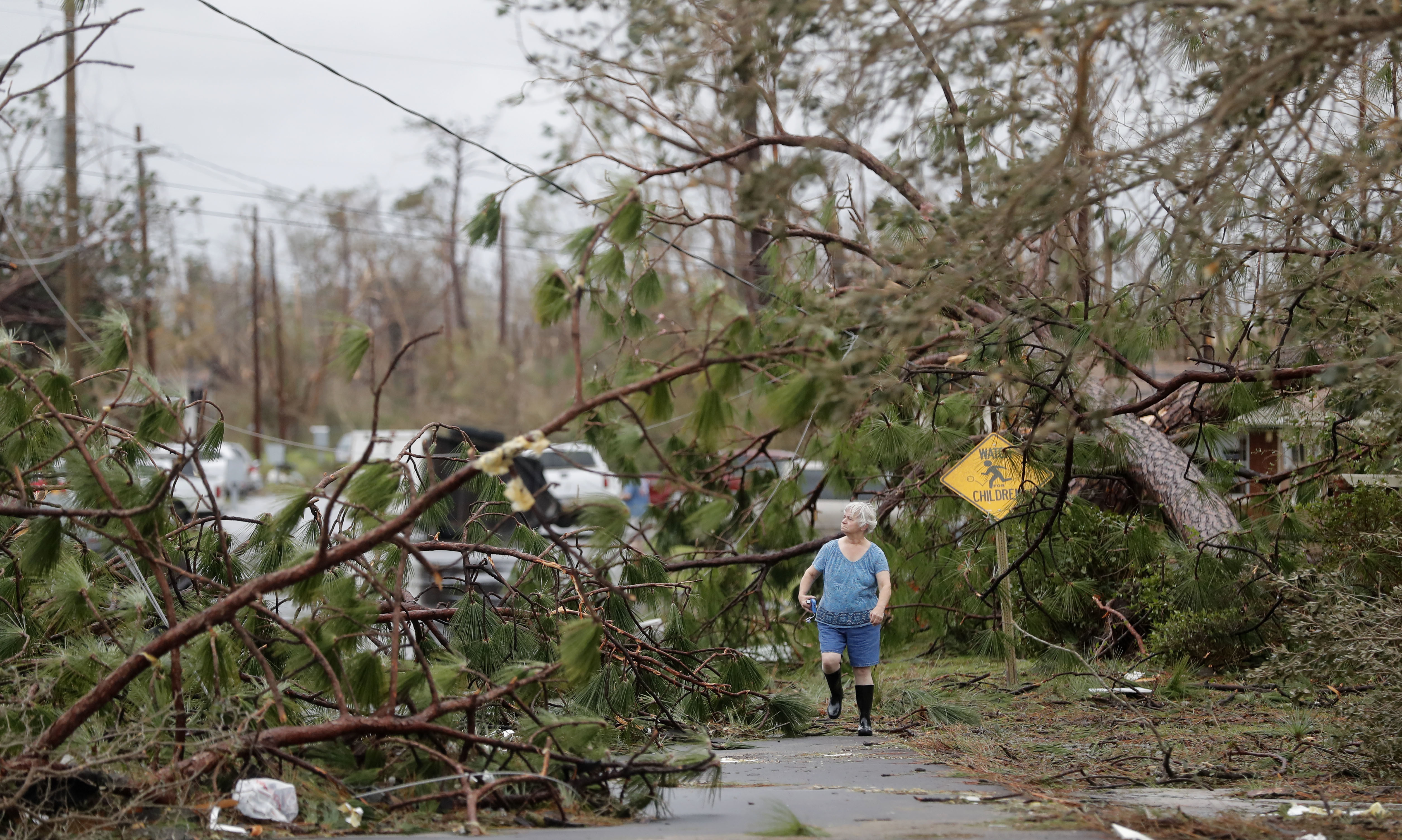 Carol Ralph walks through downed trees blocking her heavily damaged neighborhood just after Hurricane Michael passed through in Panama City, Fla., Wednesday, Oct. 10, 2018.