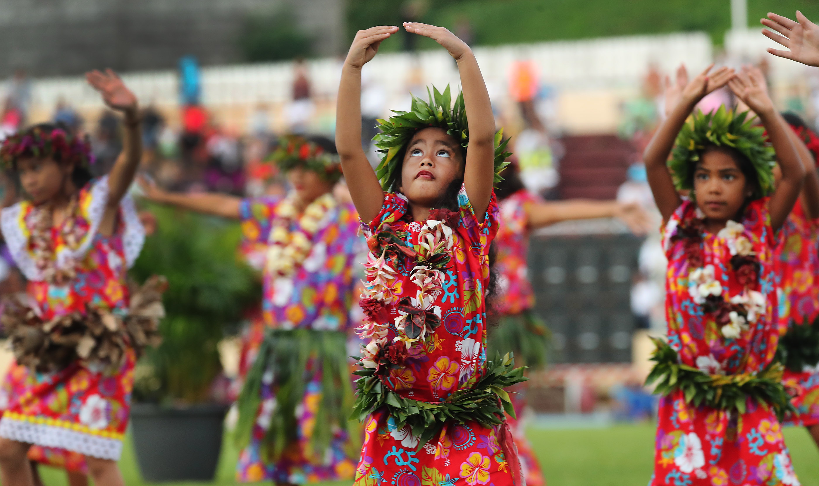 Performers dance during a Tahiti cultural program for President Russell M. Nelson of The Church of Jesus Christ of Latter-day Saints in Papeete, Tahiti, on May 24, 2019.