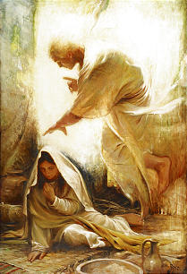 """A painting by Walter Rane titled """"Blessed Art Thou Among Women"""" portrays Angel Gabriel's visit to Mary."""