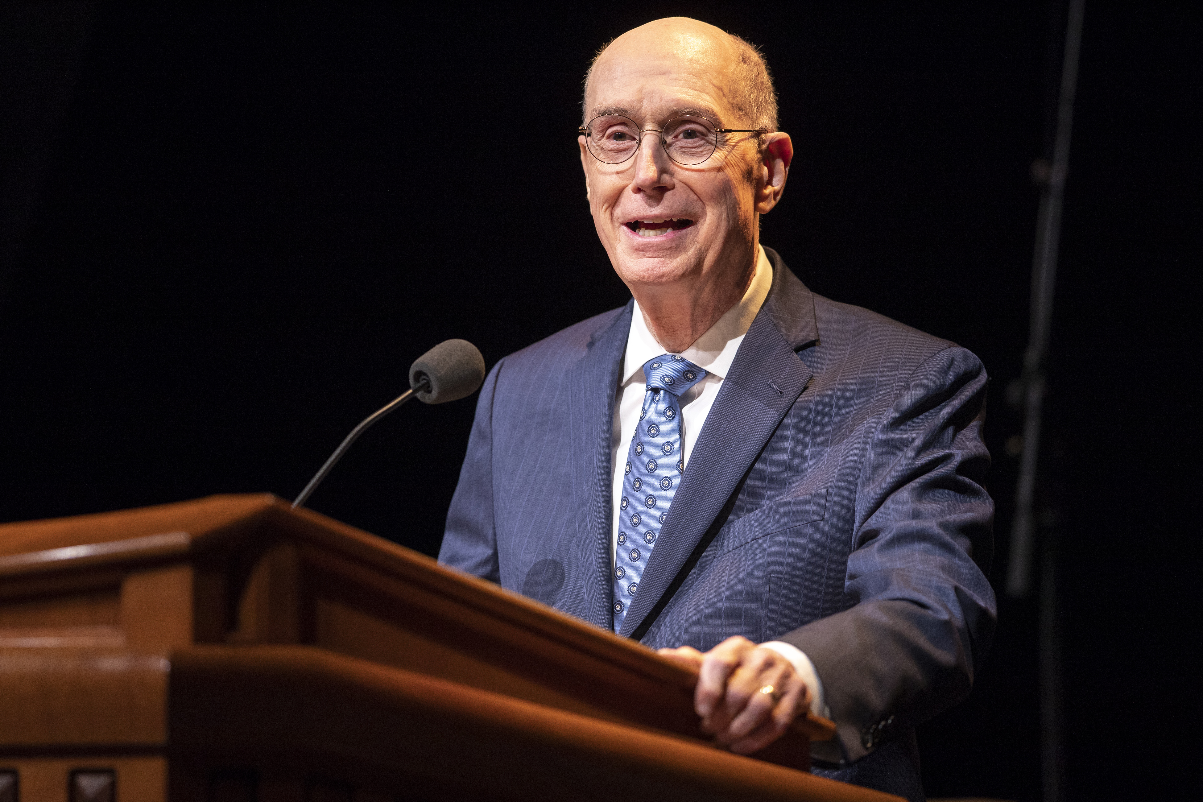 President Henry B. Eyring speaks to LDS Business College students during a devotional in the Conference Center Theater in Salt Lake City on Tuesday, Nov. 6, 2018.
