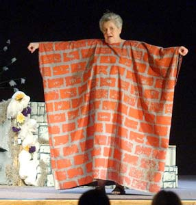 JoAnn Camp performs as a wall, as prescribed by the Shakespearean comedy.