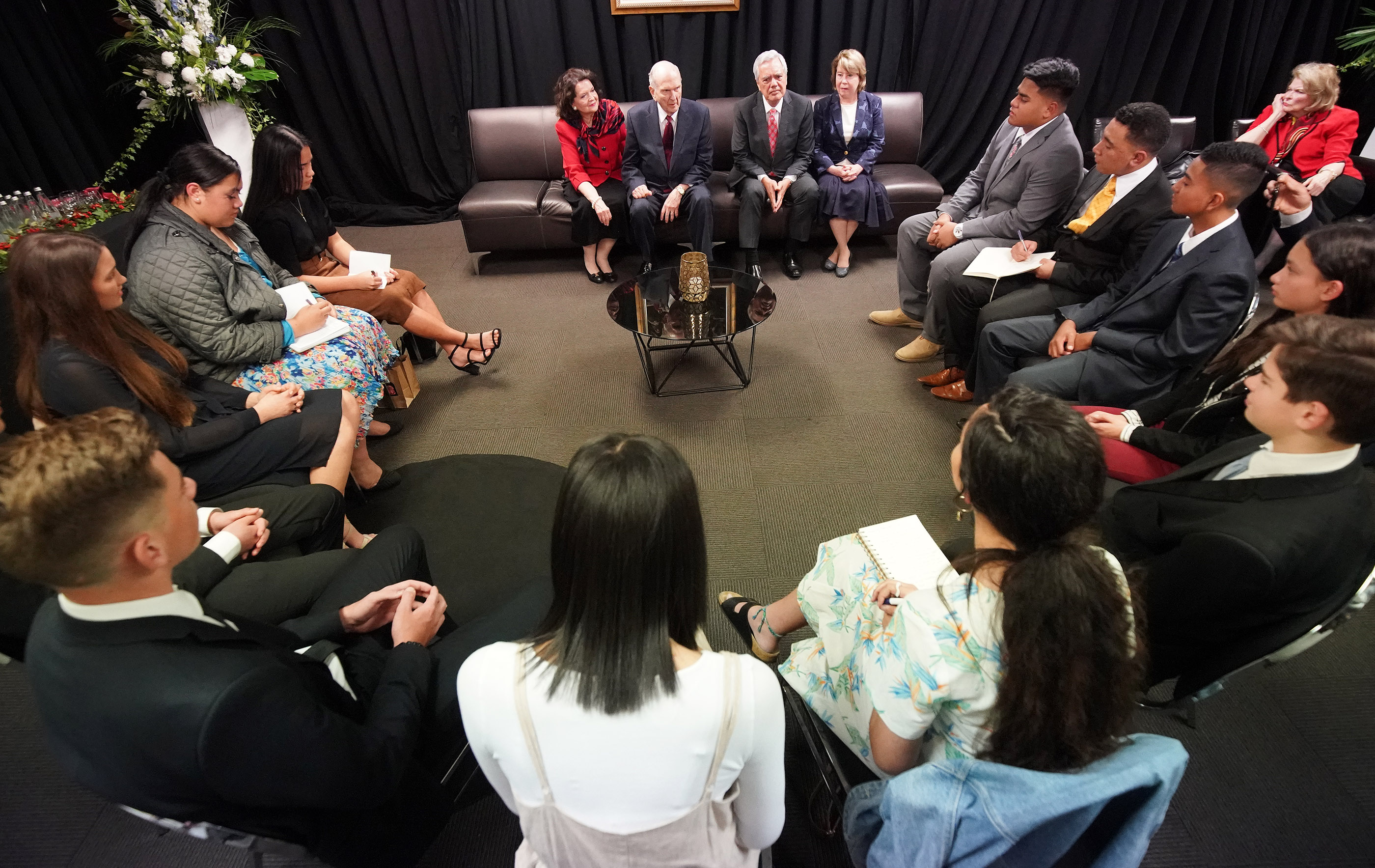 President Russell M. Nelson of The Church of Jesus Christ of Latter-day Saints meets with youth in Auckland, New Zealand, on May 21, 2019.