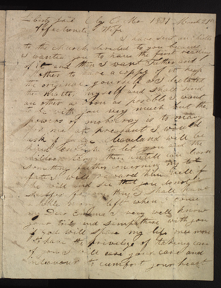 A letter from Joseph Smith to his wife Emma from Liberty Jail, March 21, 1839, is one of several thousand documents that have been published in the Joseph Smith Papers project over the last 10 years.