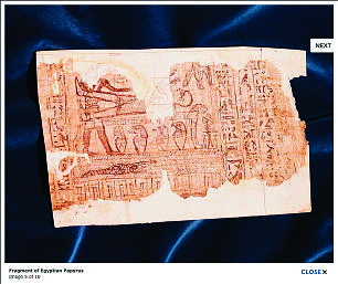 """Clicking on the """"next"""" button in the Oliver Cowdery image takes the viewer to the next image in the series, a fragment from the book of Abraham papyrus translated by Joseph Smith."""