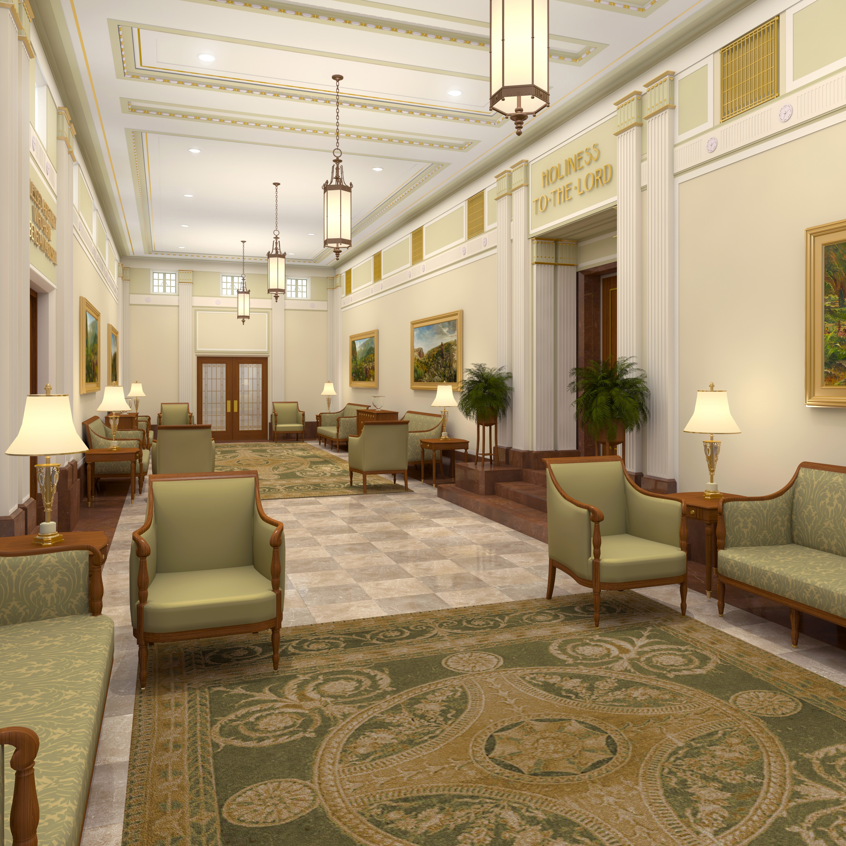 Rendering of the grand foyer in the Mesa Arizona Temple.