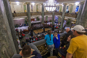 Families gather on the second floor of the Joseph Smith Memorial Building to watch a choral performance during EVE on Dec. 31. Events were free, family friendly and drew thousands of attendees during the evening.