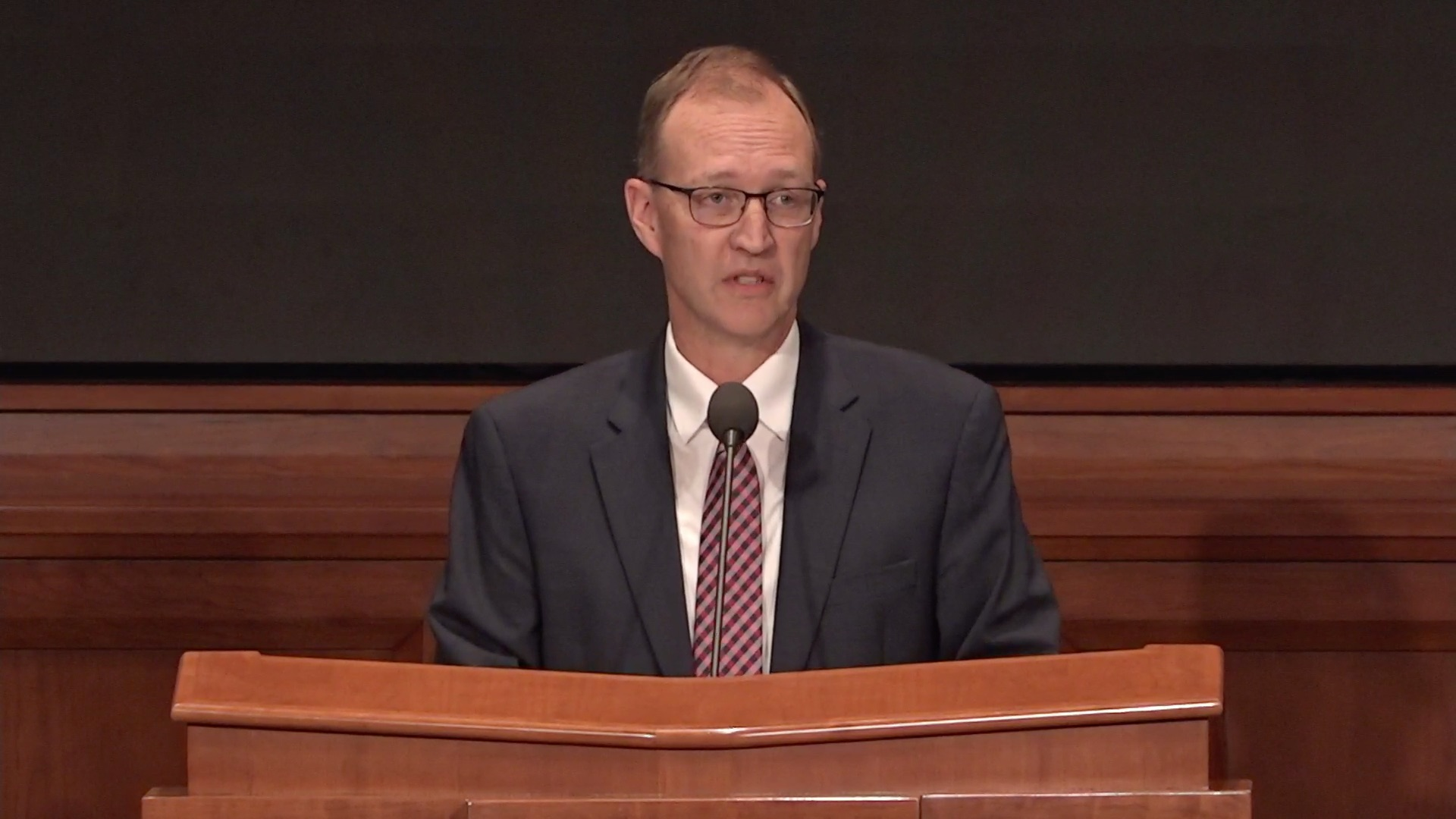Chad Webb, Seminaries and Institutes administrator, speaks during the Seminaries and Institutes Annual Training Broadcast on June 12, 2019.
