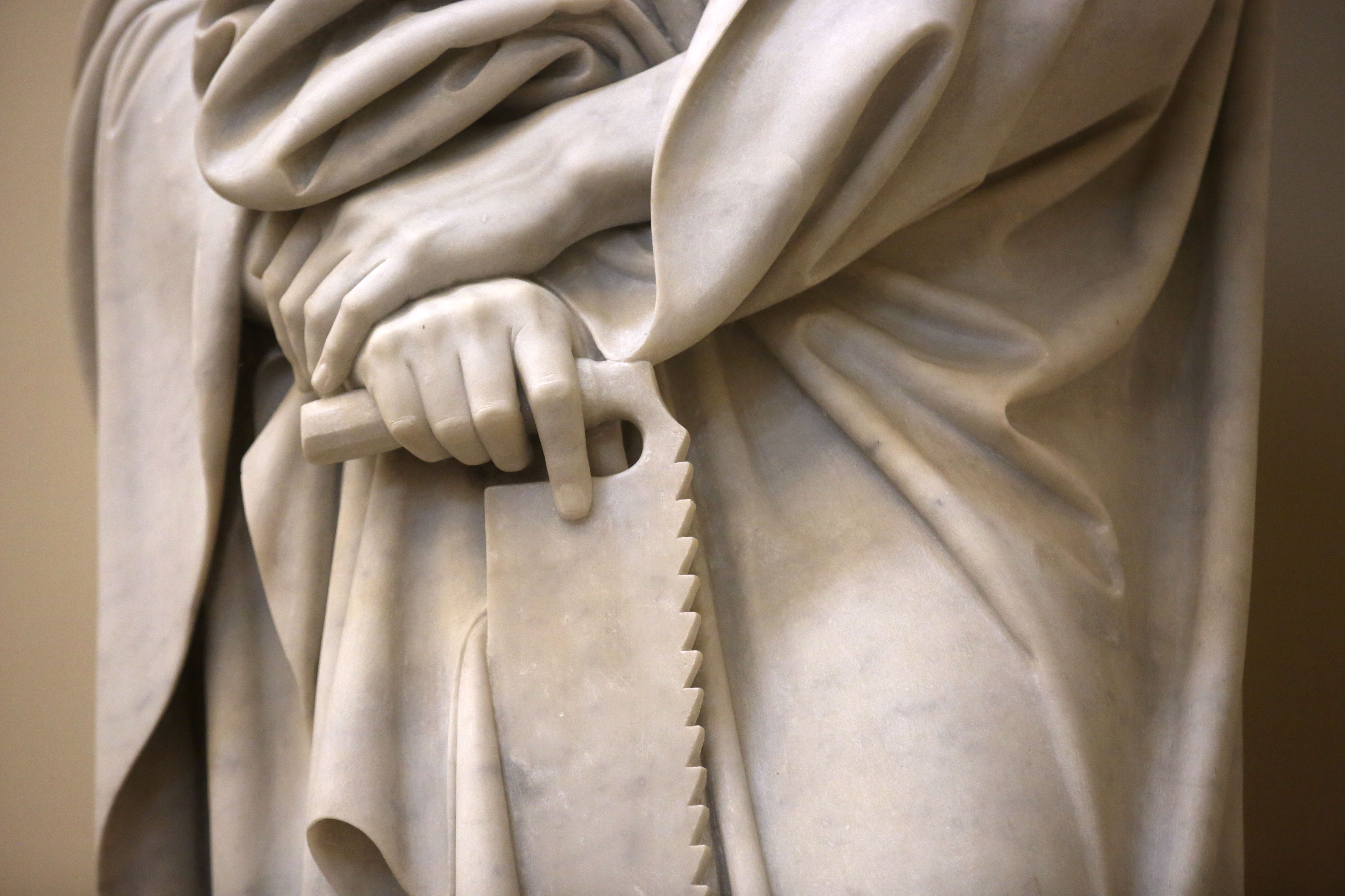Bertel Thorvaldsen's statue of Simon, one of the 12 apostles, holds a saw at the Church of Our Lady in Copenhagen, Denmark, on Tuesday, Nov. 13, 2018. The 12 apostles statues were carved out of Carrara marble between 1829 and 1848. Replicas of the statues are now on display in the Rome Temple Visitors' Center in Italy.
