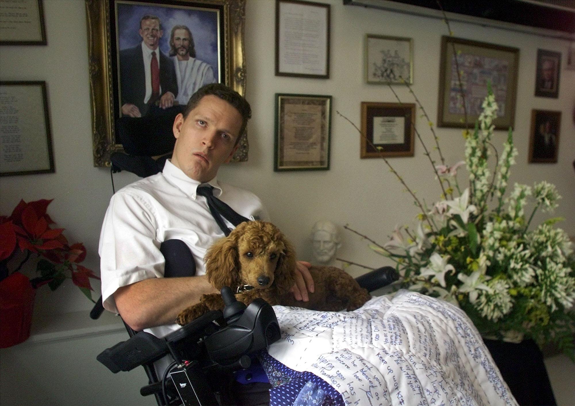 Elder Orin Voorheis of Pleasant Grove with his new dog Rusty.
