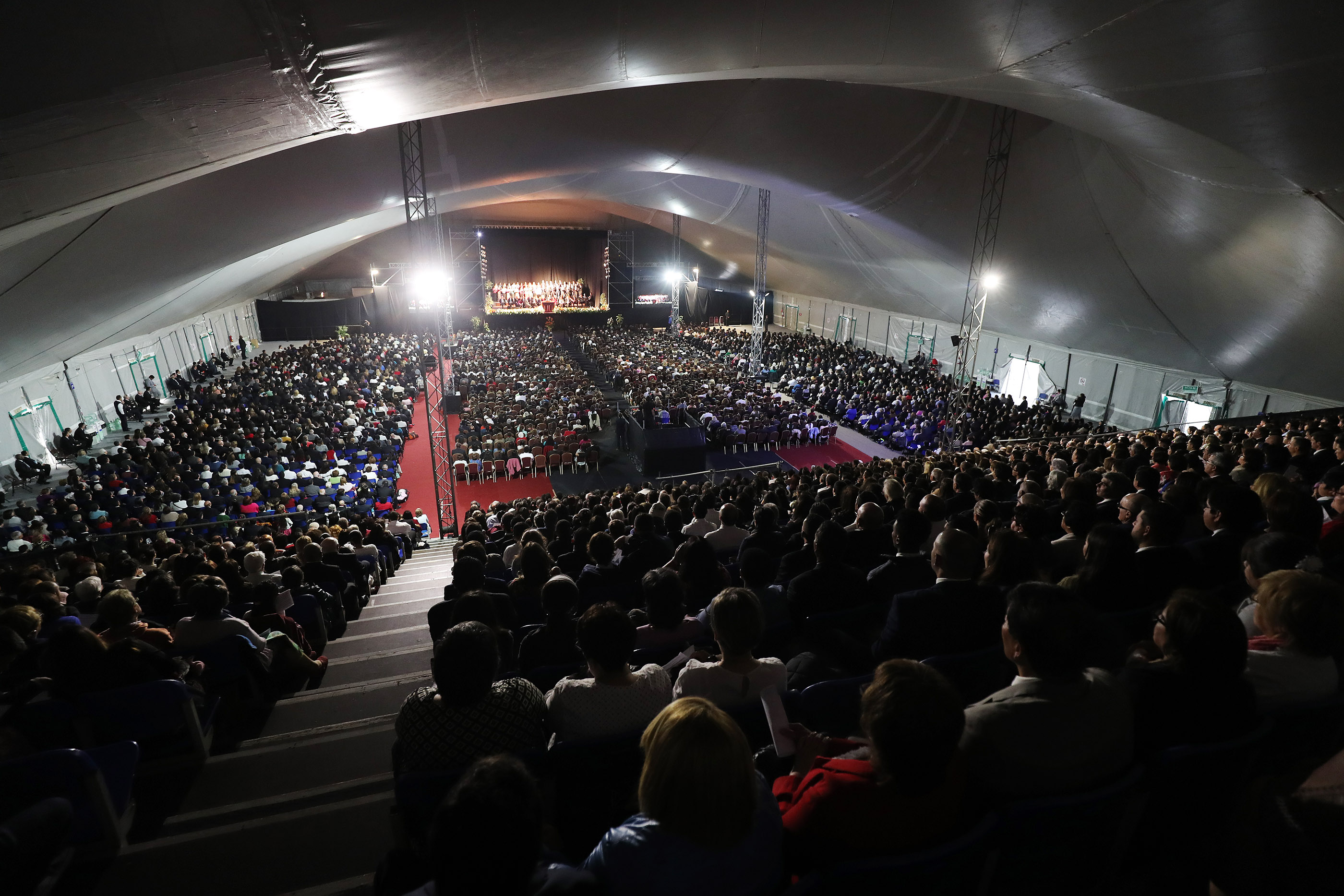 Church members gather in a tent to listen to President Russell M. Nelson of The Church of Jesus Christ of Latter-day Saints in Montevideo, Uruguay, on Thursday, Oct. 25, 2018.
