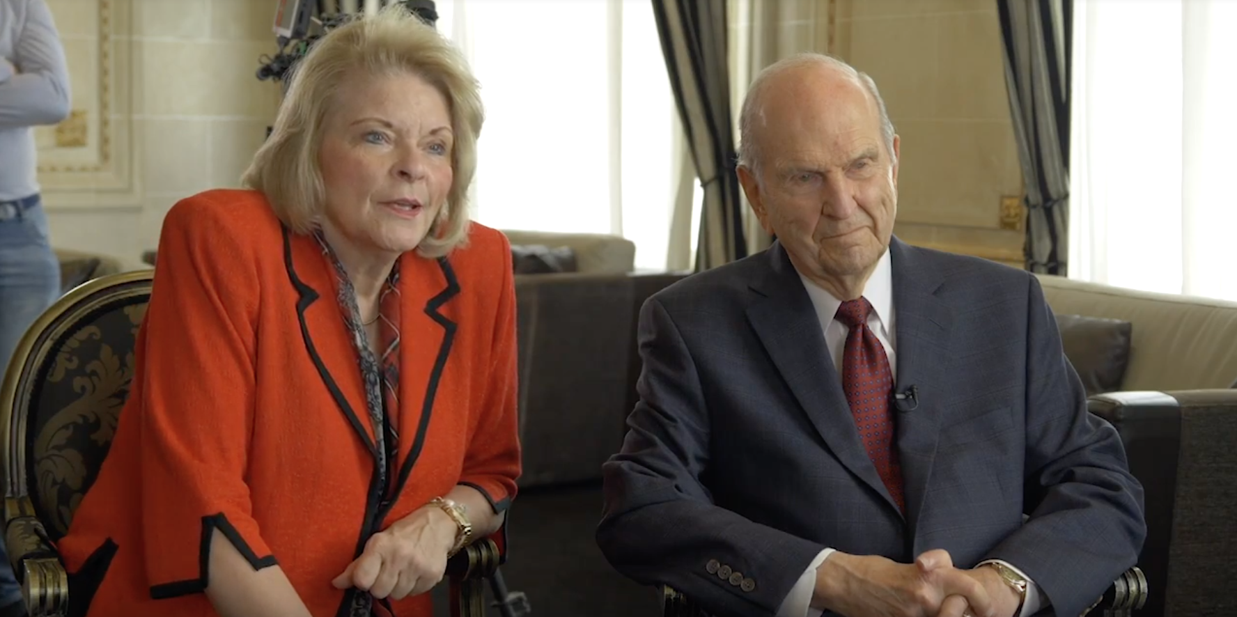 Sheri Dew joins President Russell M. Nelson for an interview with Sergio Rubin, an Argentine journalist and writer on Oct. 26, 2018.