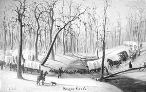 "Christensen's ""Crossing Sugar Creek,"" portrays winter exodus."