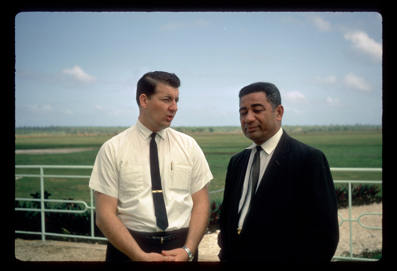 President John Groberg of the Tonga Mission, left, stands with President Toutai of the new stake presidency in Tonga in September 1968.