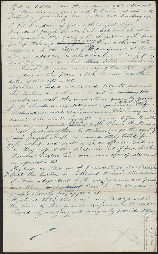 This document depicts minutes from a special conference held in August 1841. During the conference, the Nauvoo Saints were informed of the new administrative responsibilities of the Quorum of the Twelve Apostles.