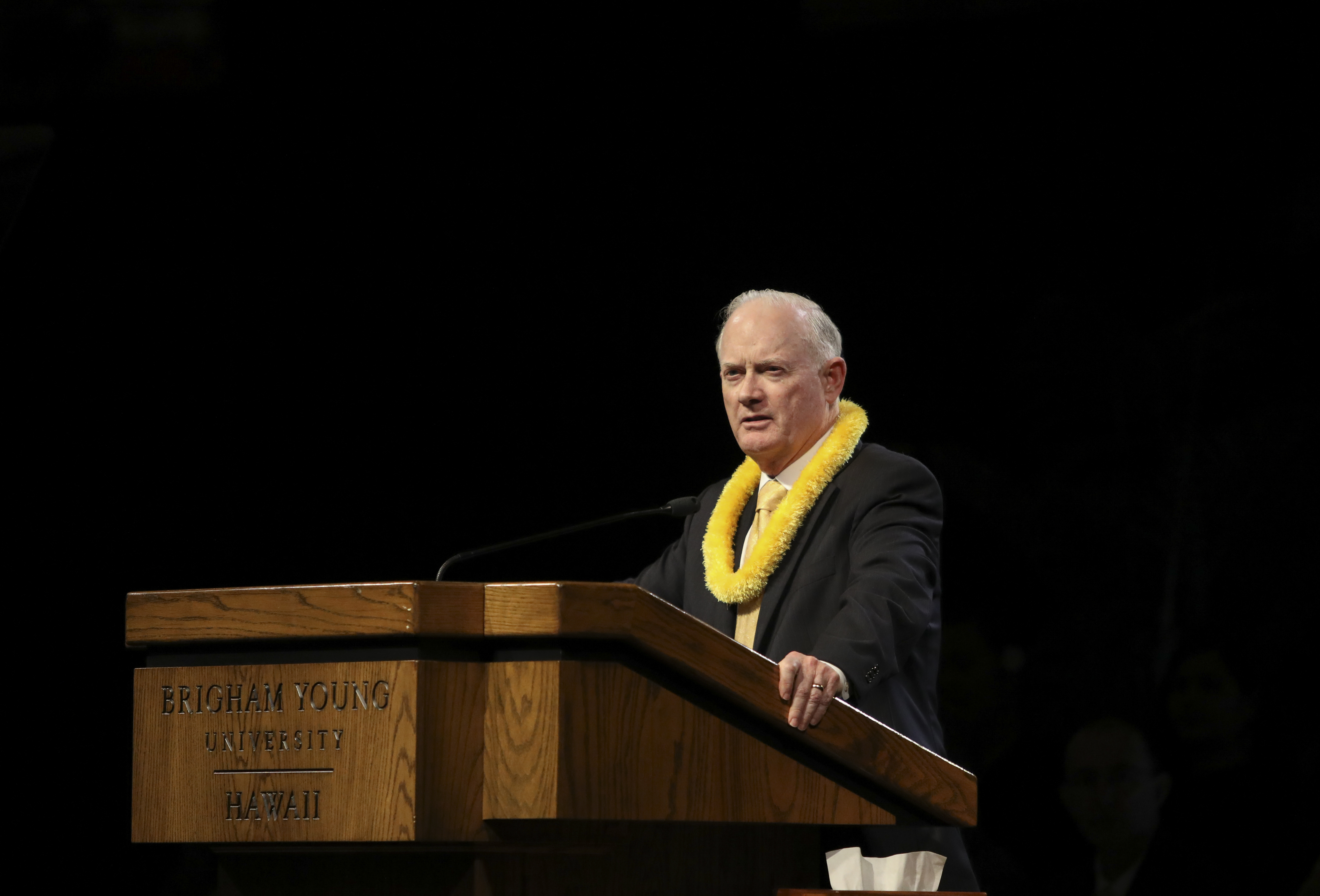 Elder Kim B. Clark, General Authority Seventy and commissioner of Church education, speaks during a BYU-Hawaii devotional on June 11, 2019.