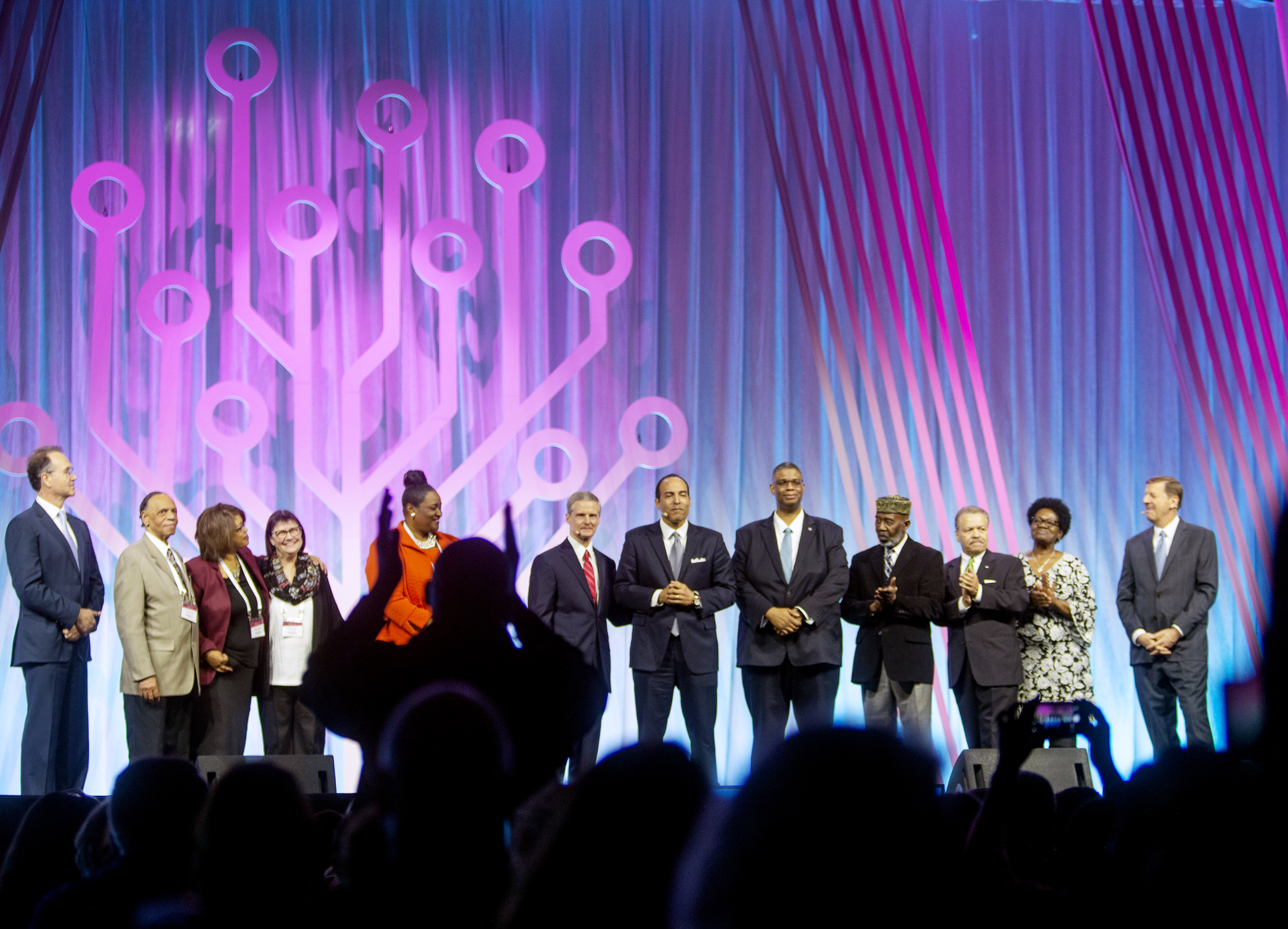 Elder David A. Bednar of the Quorum of the Twelve Apostles of The Church of Jesus Christ of Latter-day Saints announces a $2 million donation from the church to the International African American Museum Center for Family History, at Rootstech in Salt Lake City on Wednesday, Feb. 27, 2019.