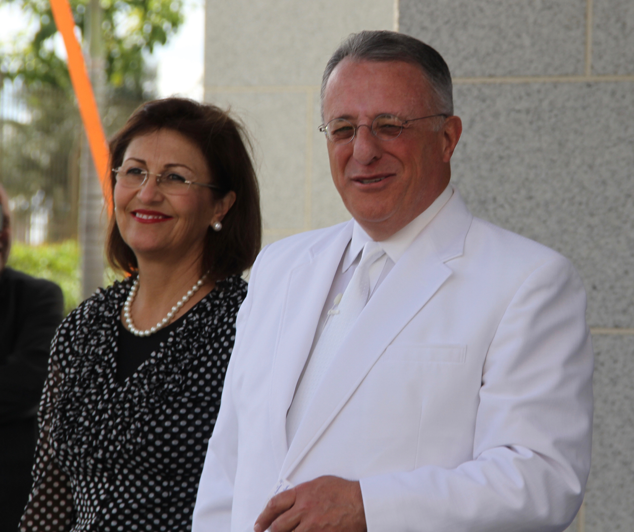 Elder Ulisses Soares of the Quorum of the Twelve Apostles with his wife, Sister Rosasa Soares, speaks to members gathered at the cornerstone ceremony of the Fortaleza Brazil Temple on Sunday, June 2, 2019.