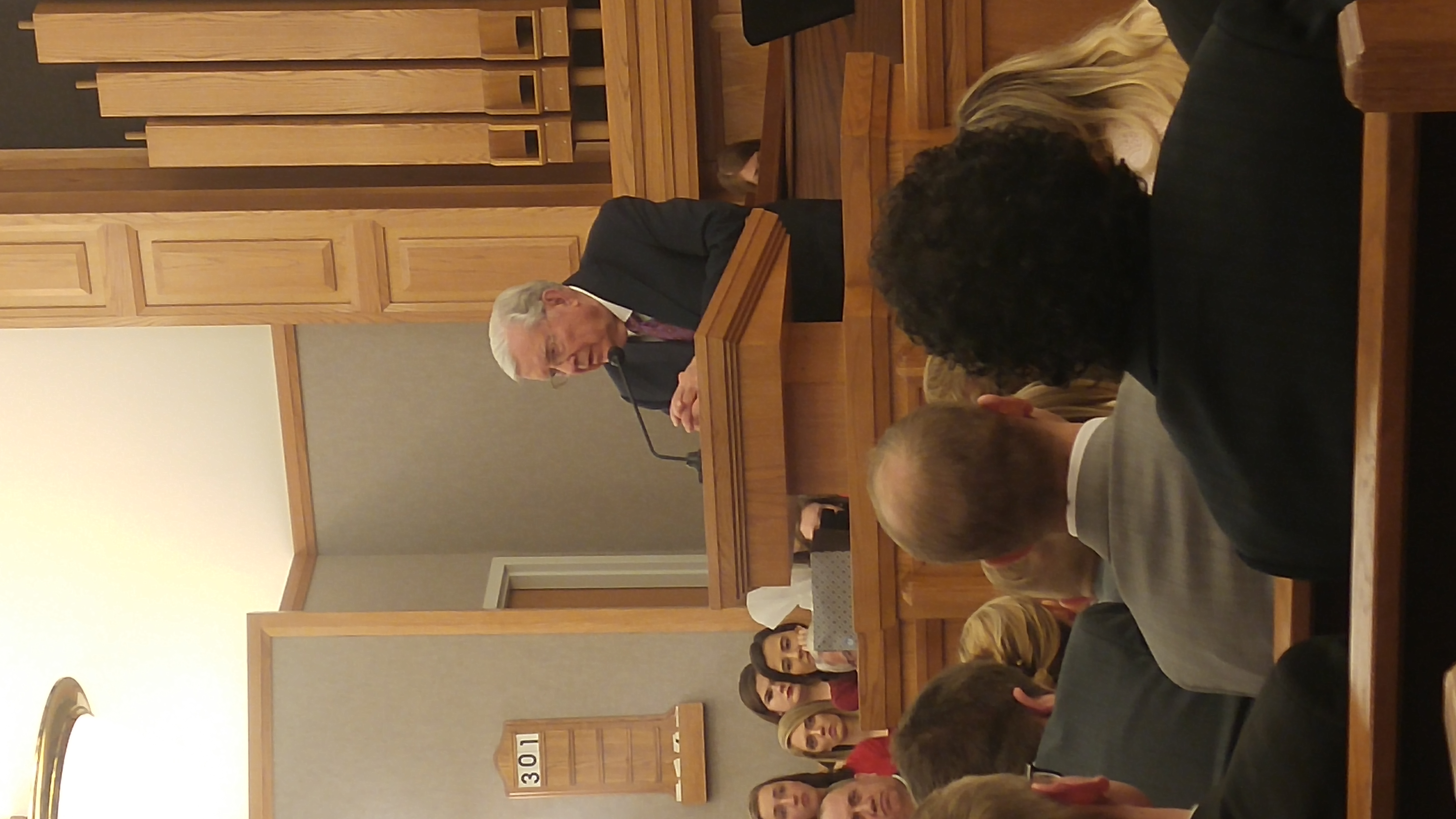 President M. Russell Ballard speaks to students gathered in the Salt Lake Institute during a devotional on Sunday, Feb. 10, 2019.