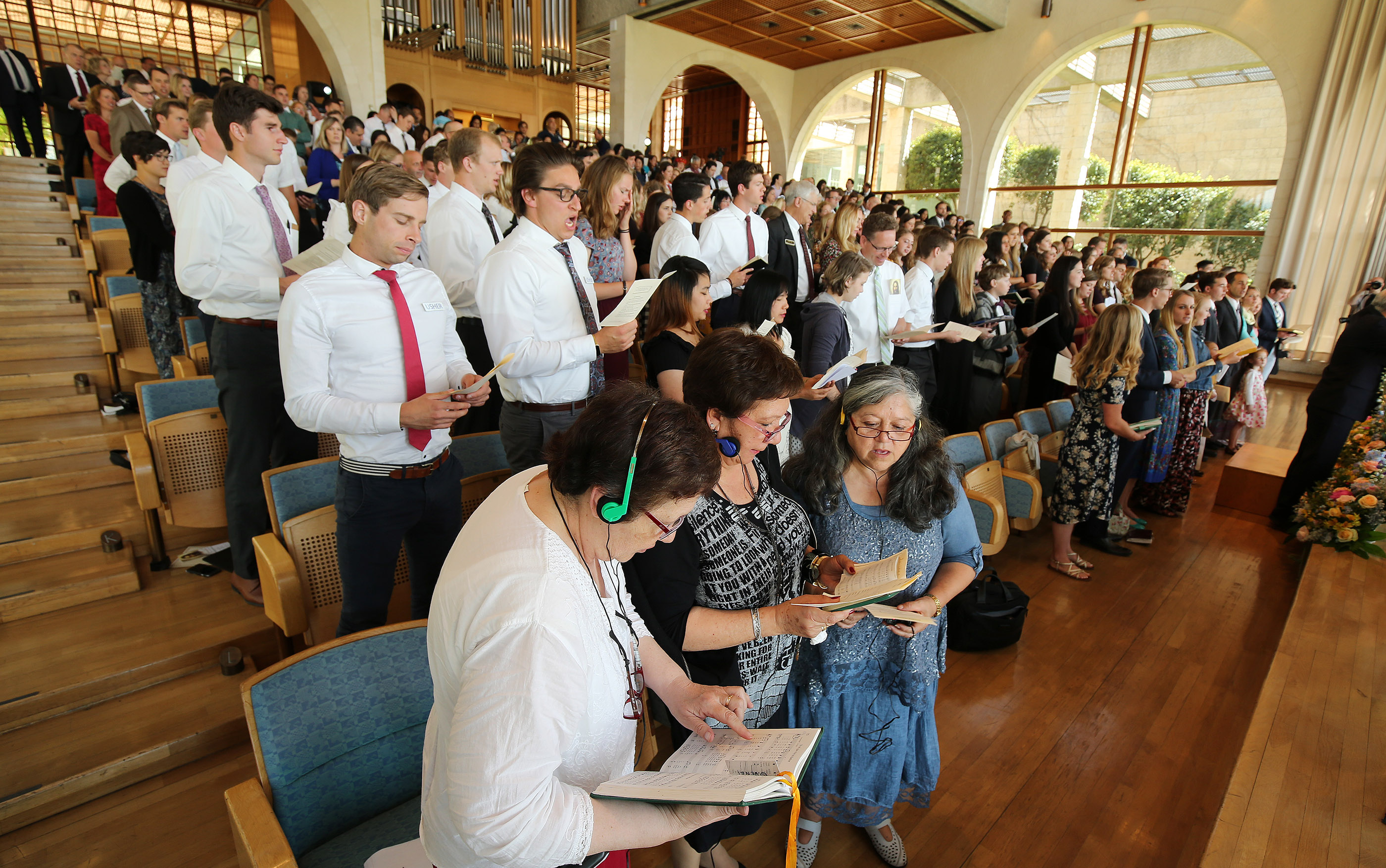Attendees sing during Jerusalem District Conference at the BYU Jerusalem Center in Jerusalem on Saturday, April 14, 2018.