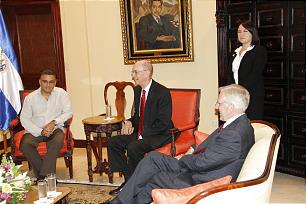 El Salvador's President Mauricio Funes, left, President Henry B. Eyring, of the First Presidency, Elder D. Todd Christofferson, of the seventy.