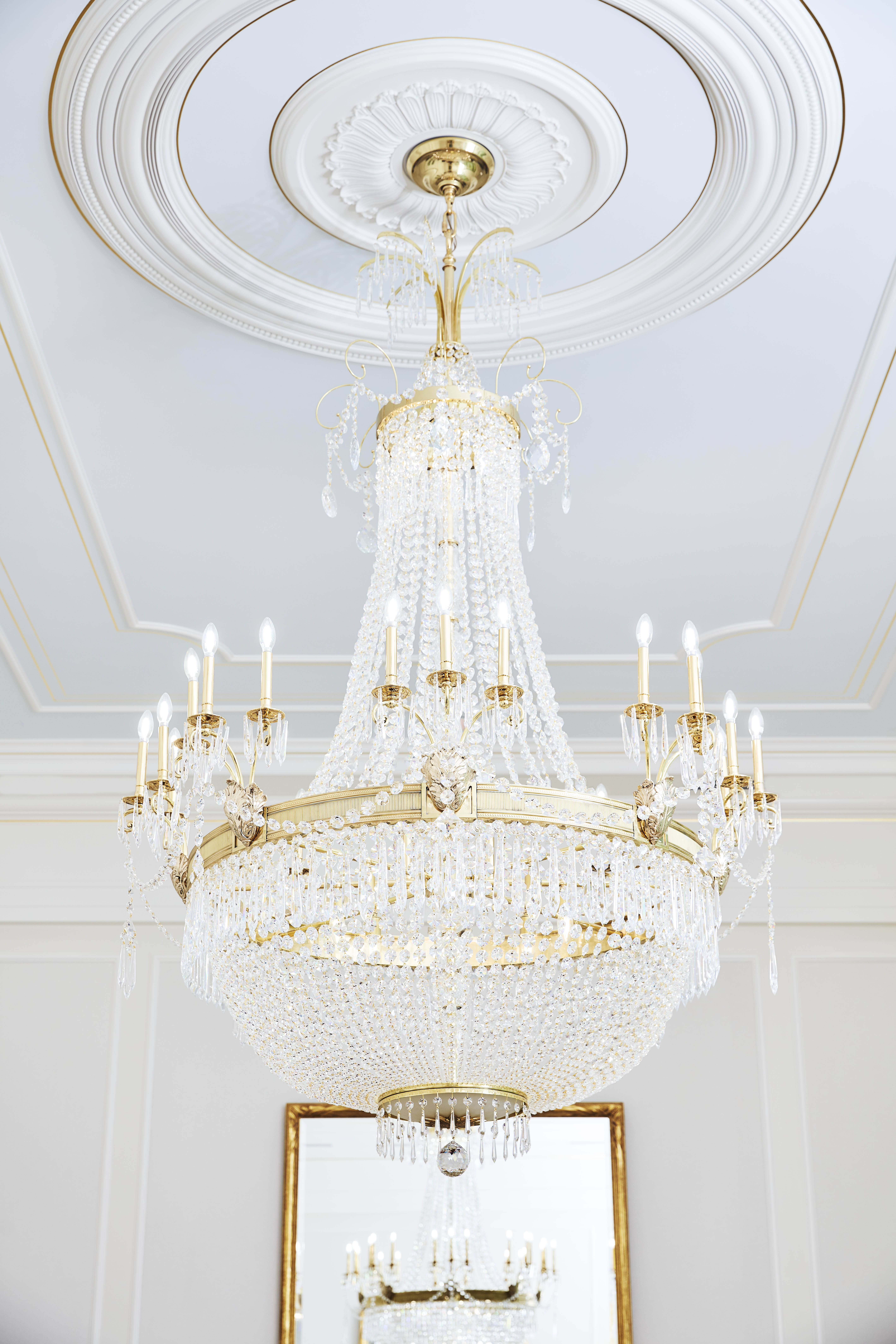 A chandelier in the celestial room of the Memphis Tennessee Temple.