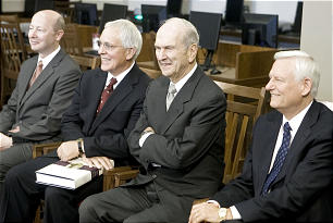 From left, Richard E. Turley, Assistant Church Historian; Elder Marlin K. Jensen, Church Historian and Recorder; Elder Russell M. Nelson of the Quorum of the Twelve and Elder Paul K. Sybrowsky, Assistant Executive Director of the Church History Department and a member of the First Quorum of the Seventy, attend a press conference introducing the latest volume to be published in the Joseph Smith Papers Project.