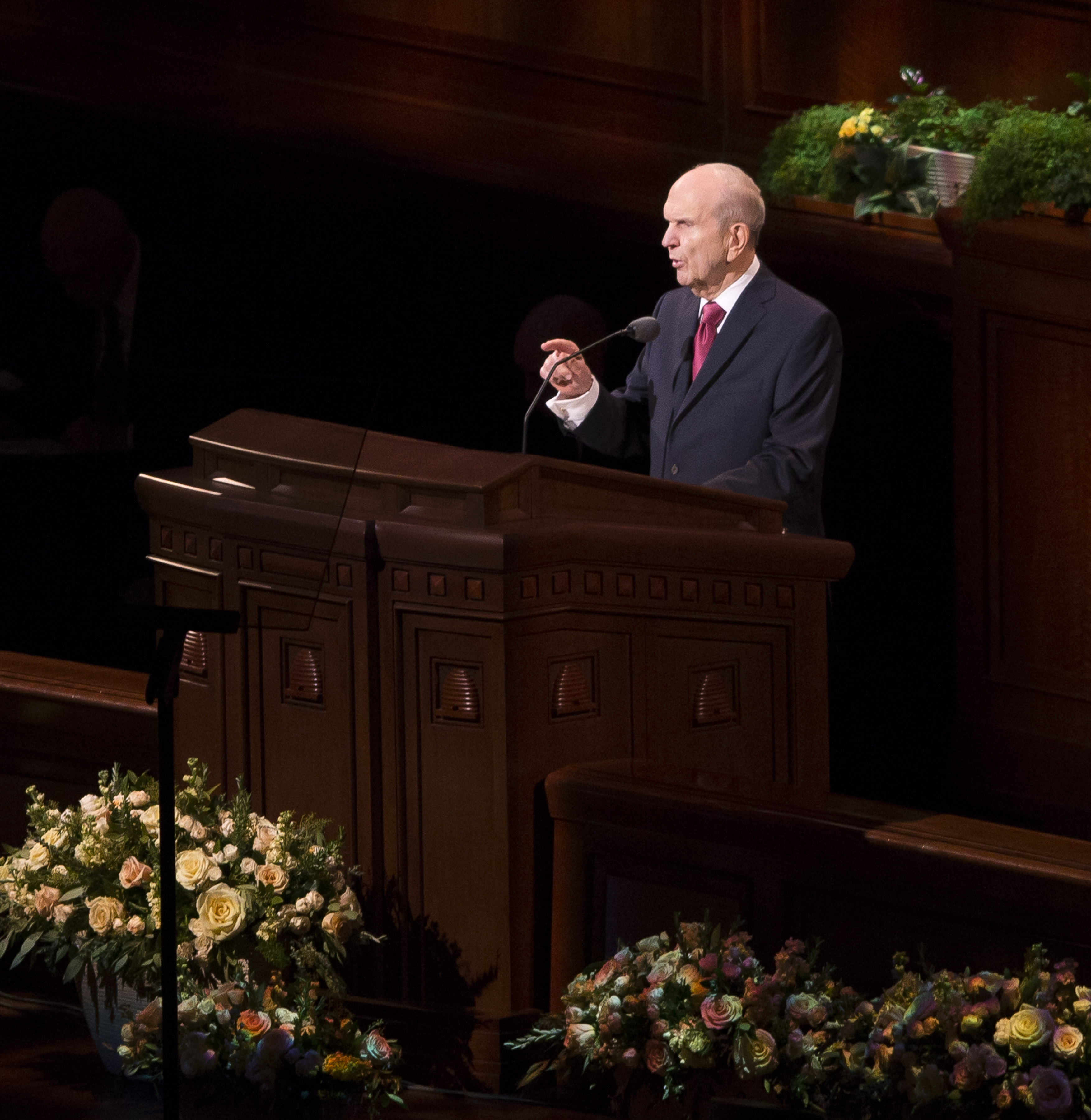 Church President Russell M. Nelson speaks during the 188th Annual General Conference of The Church of Jesus Christ of Latter-day Saints in the Conference Center in Salt Lake City on Sunday, April 1, 2018.