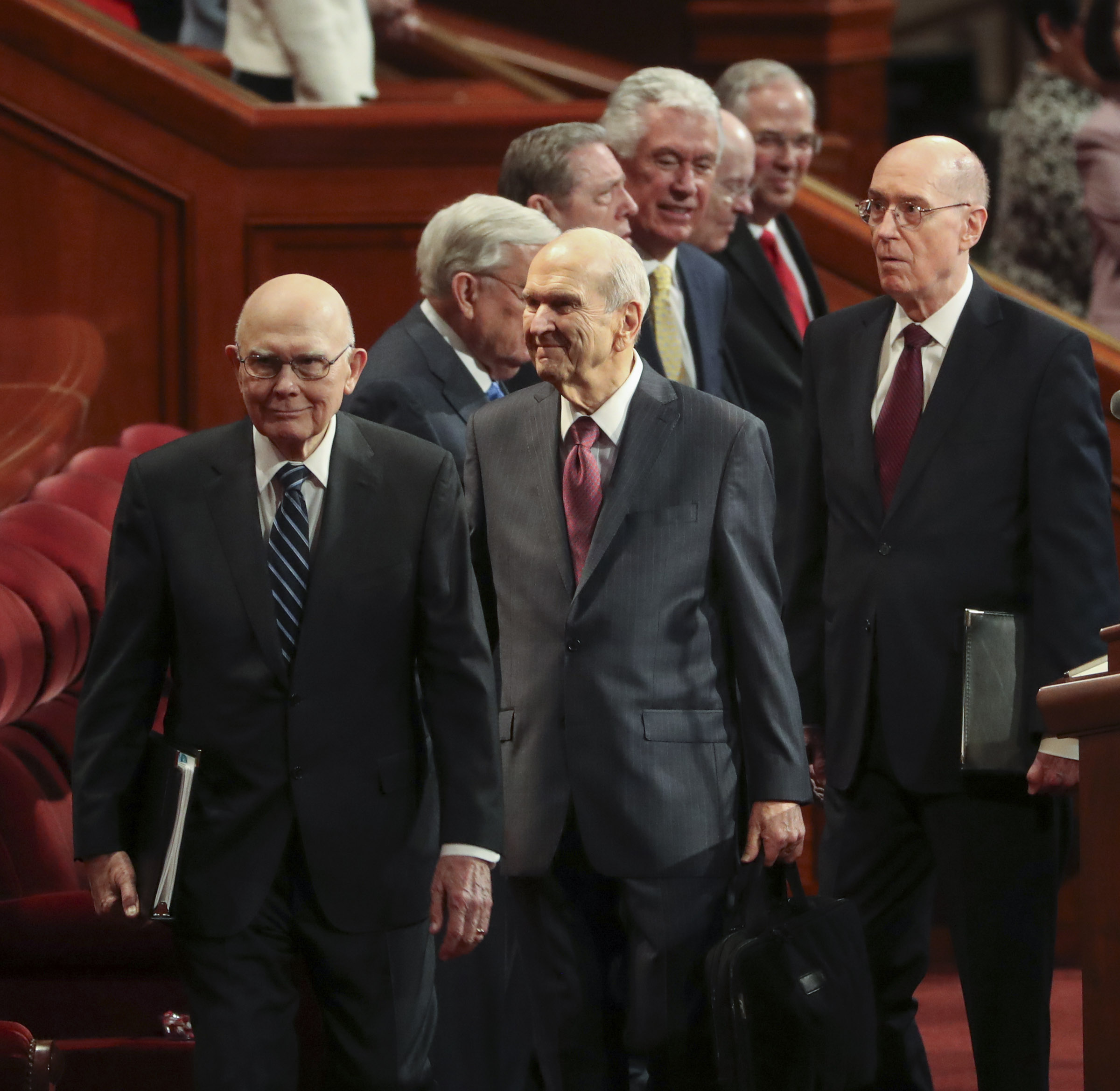 President Russell M. Nelson of The Church of Jesus Christ of Latter-day Saints, center, and his counselors, President Dallin H. Oaks, first counselor in the First Presidency, left, and President Henry B. Eyring, second counselor in the First Presidency, right, enter the Conference Center in Salt Lake City for the morning session of the 189th Annual General Conference of The Church of Jesus Christ of Latter-day Saints in Salt Lake City on Saturday, April 6, 2019.