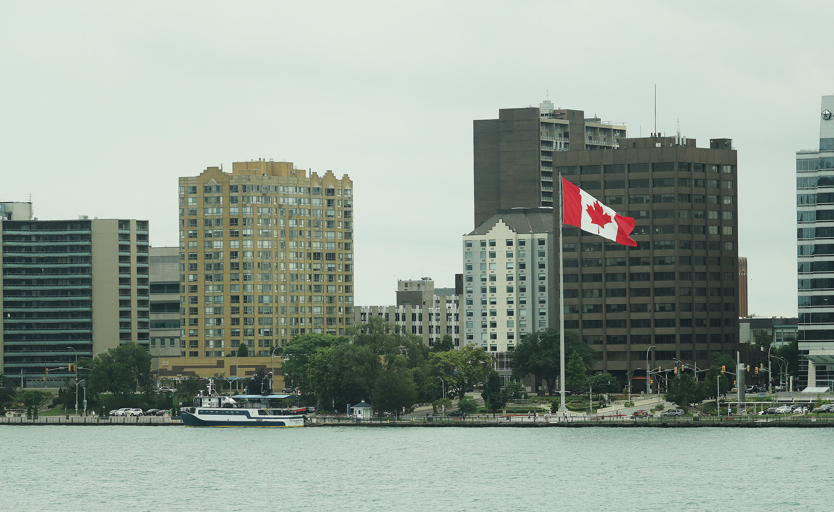Canada is across the Detroit River in Detroit on Sunday, July 21, 2019.