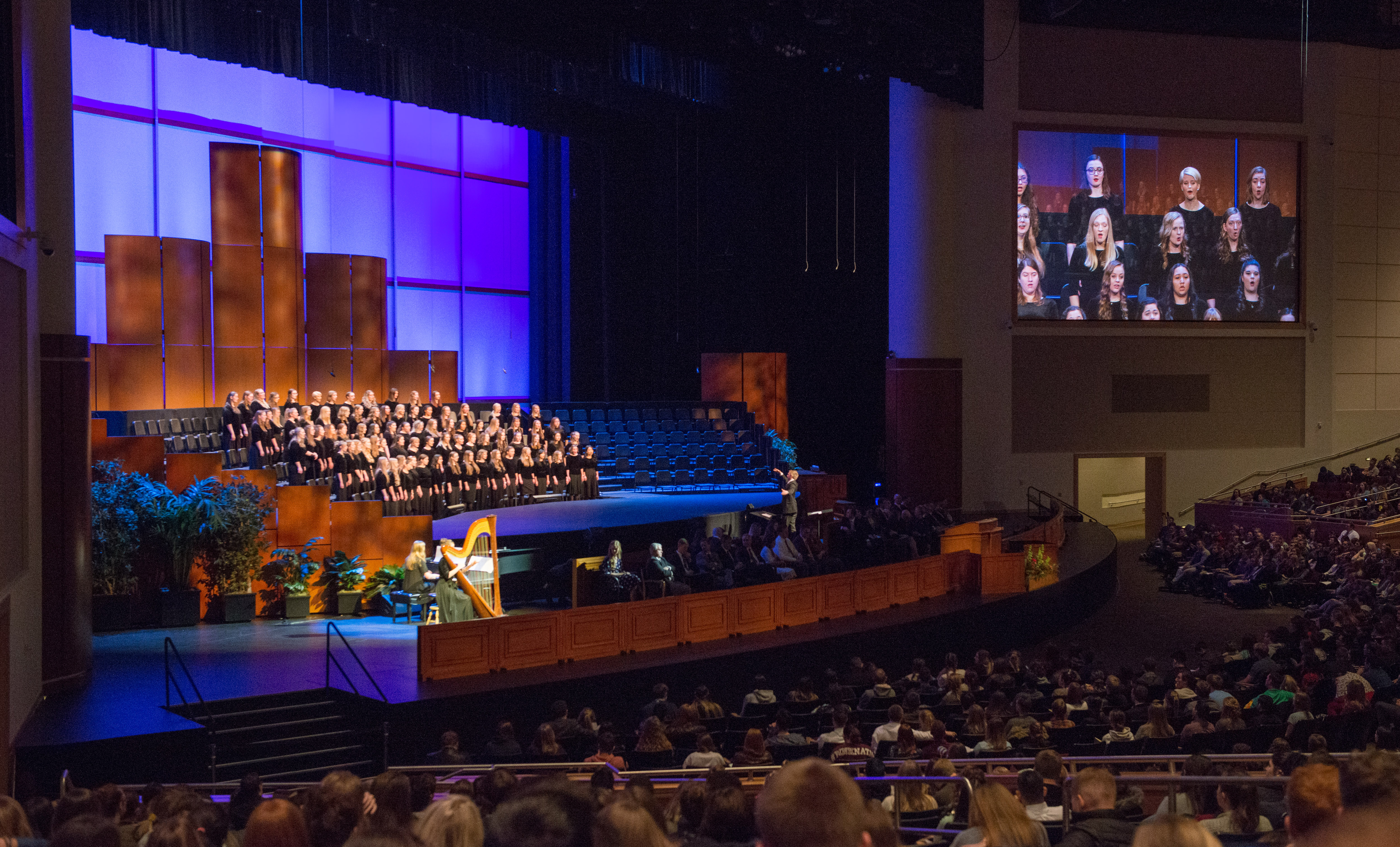 BYU-Idaho's Women's Glee Choir sings a musical number during a campus devotional with Sister Jean B. Bingham, Relief Society general president, on Nov. 27.