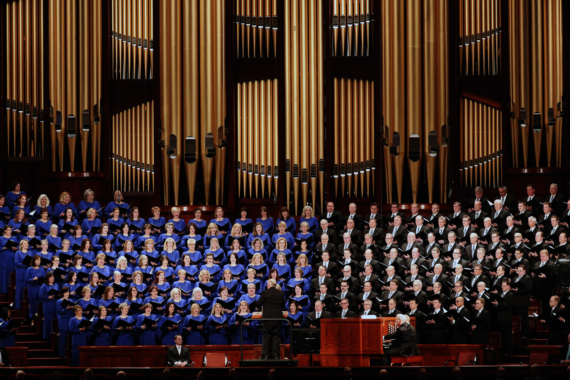 The Tabernacle Choir at Temple Square sings in the Conference Center in Salt Lake City during the morning session of the 189th Annual General Conference of The Church of Jesus Christ of Latter-day Saints on Saturday, April 6, 2019.