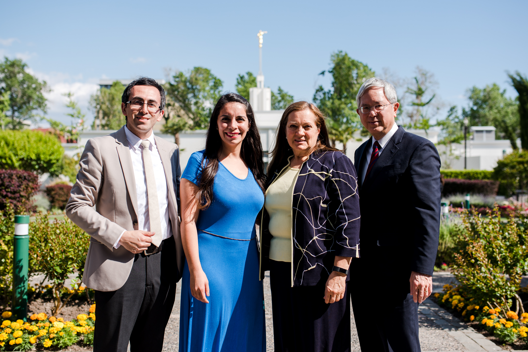 From left: Brother and Sister Toledo pose with Elder and Sister Gong at the Santiago Chile Temple on Nov. 11. Sister Toledo Meza acted as a translator for Sister Gong in Chile.