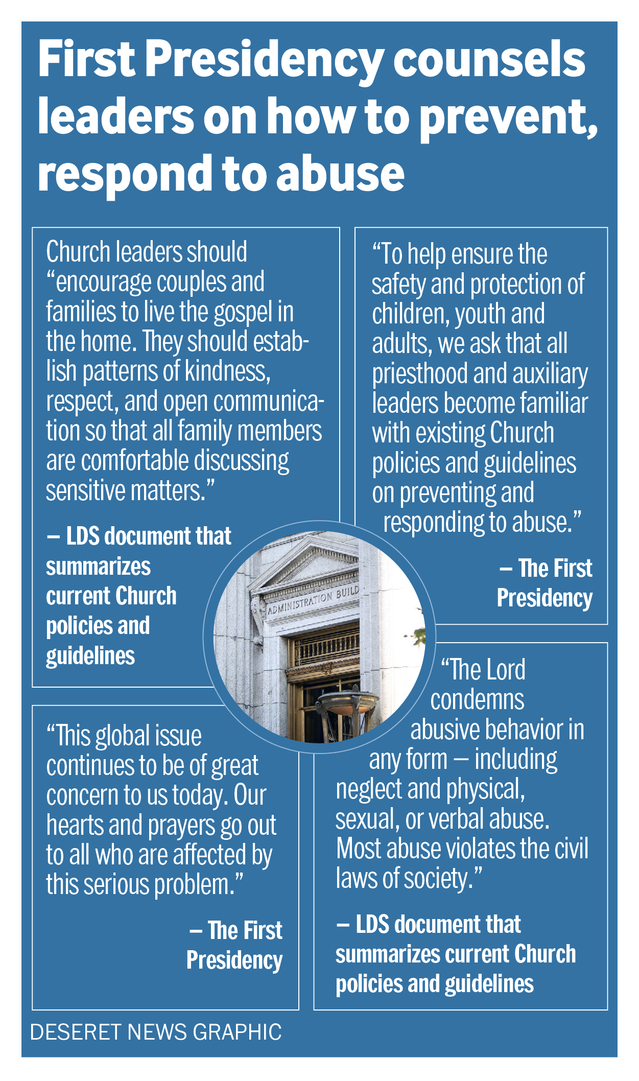 First Presidency counsels leaders how to prevent, respond to abuse